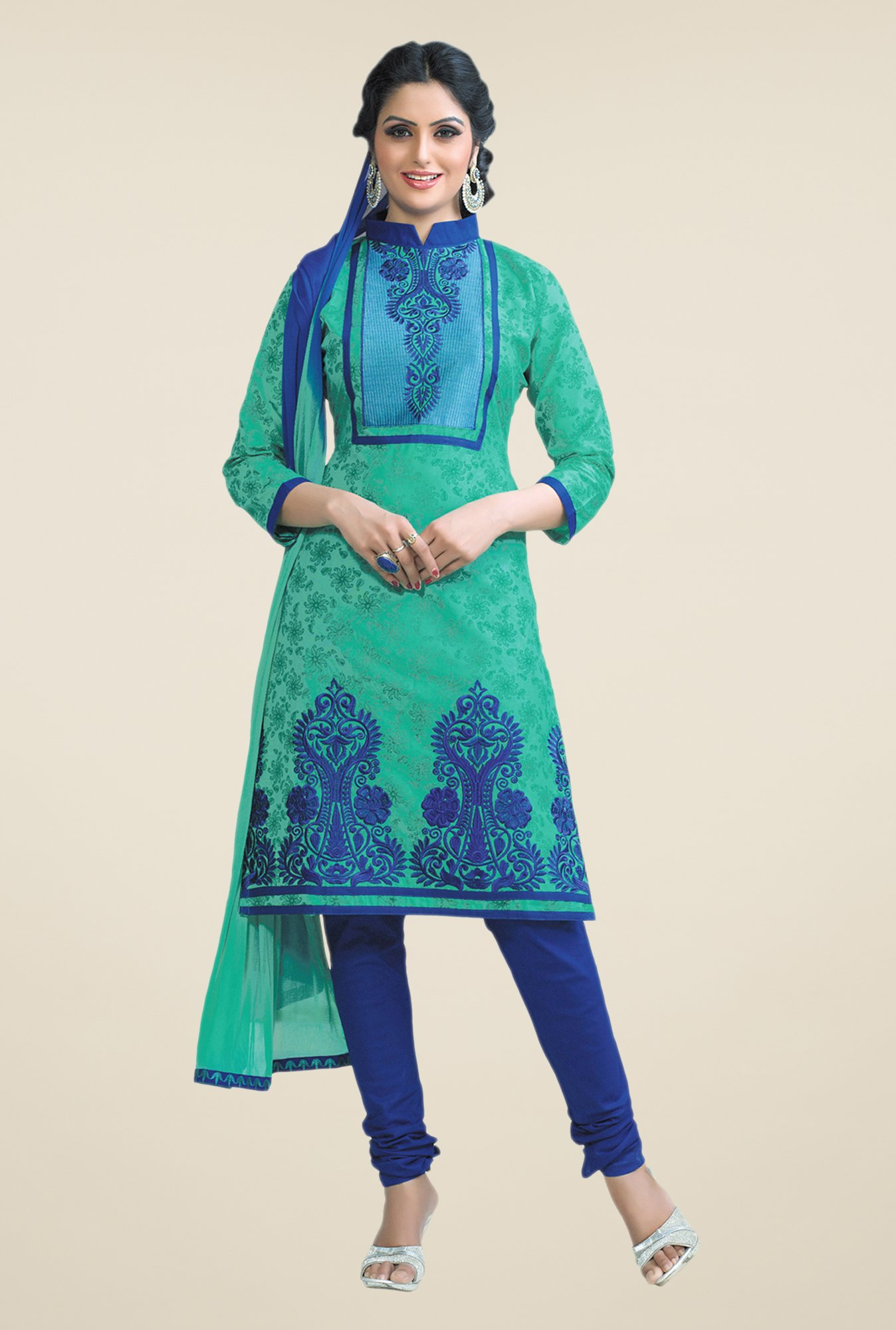 Salwar Studio Sea Green & Blue Cotton Dress Material