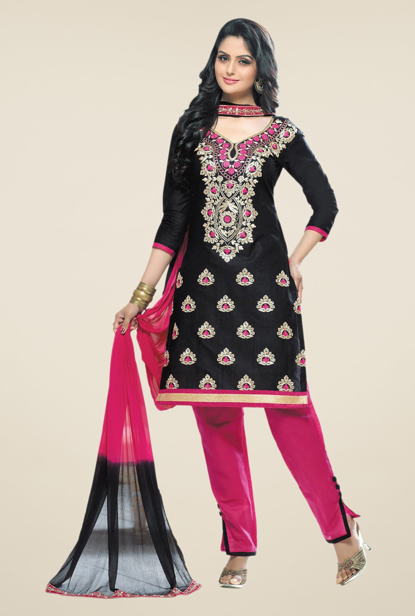 Salwar Studio Black & Pink Embroidered Cotton Dress Material