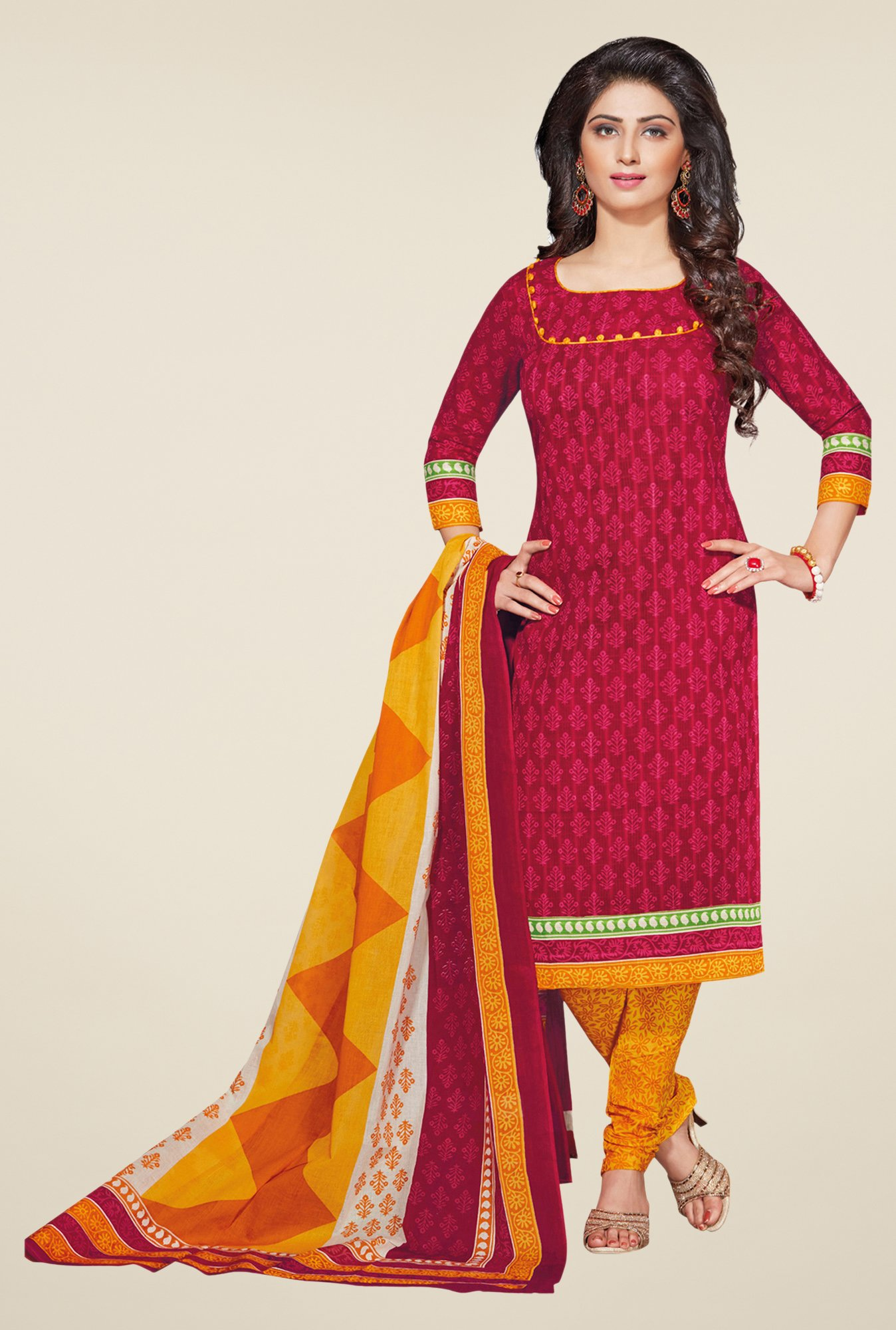 Salwar Studio Pink & Yellow Printed Dress Material