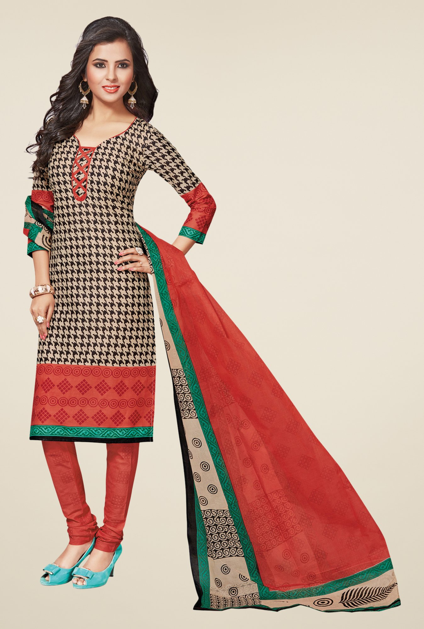 Salwar Studio Black & Red Regular Wash Dress Material