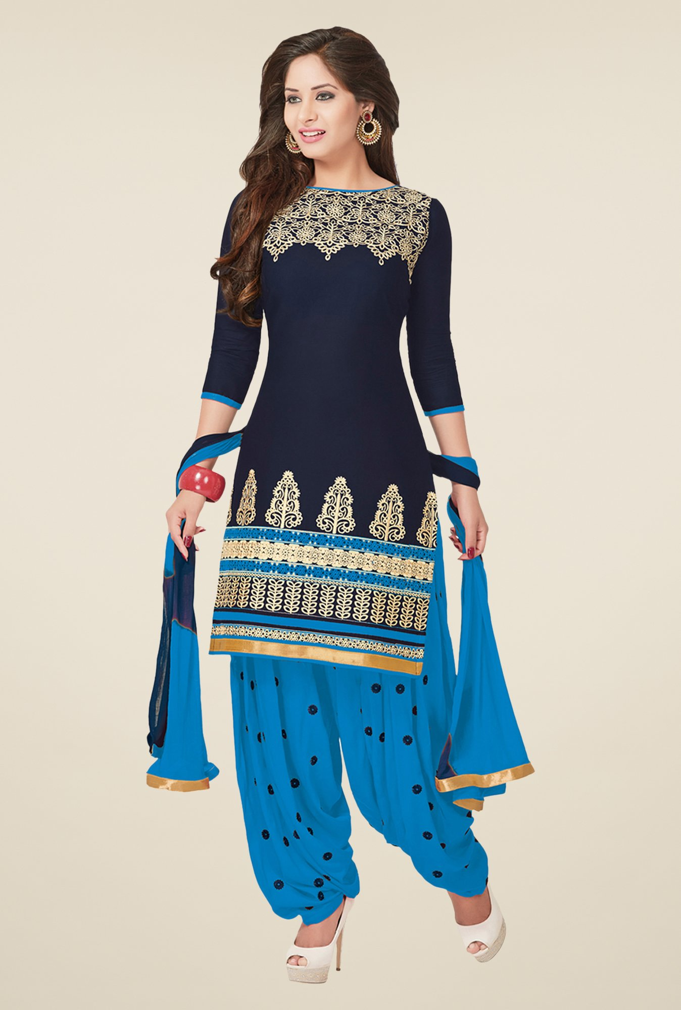 Salwar Studio Navy & Blue Patiyala Dress Material