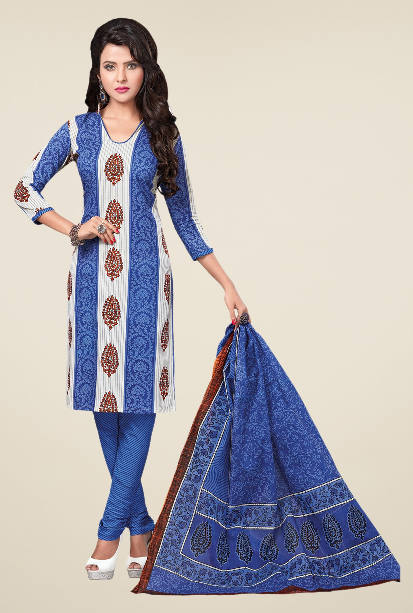 Salwar Studio Blue & White Cotton Free Size Dress Material