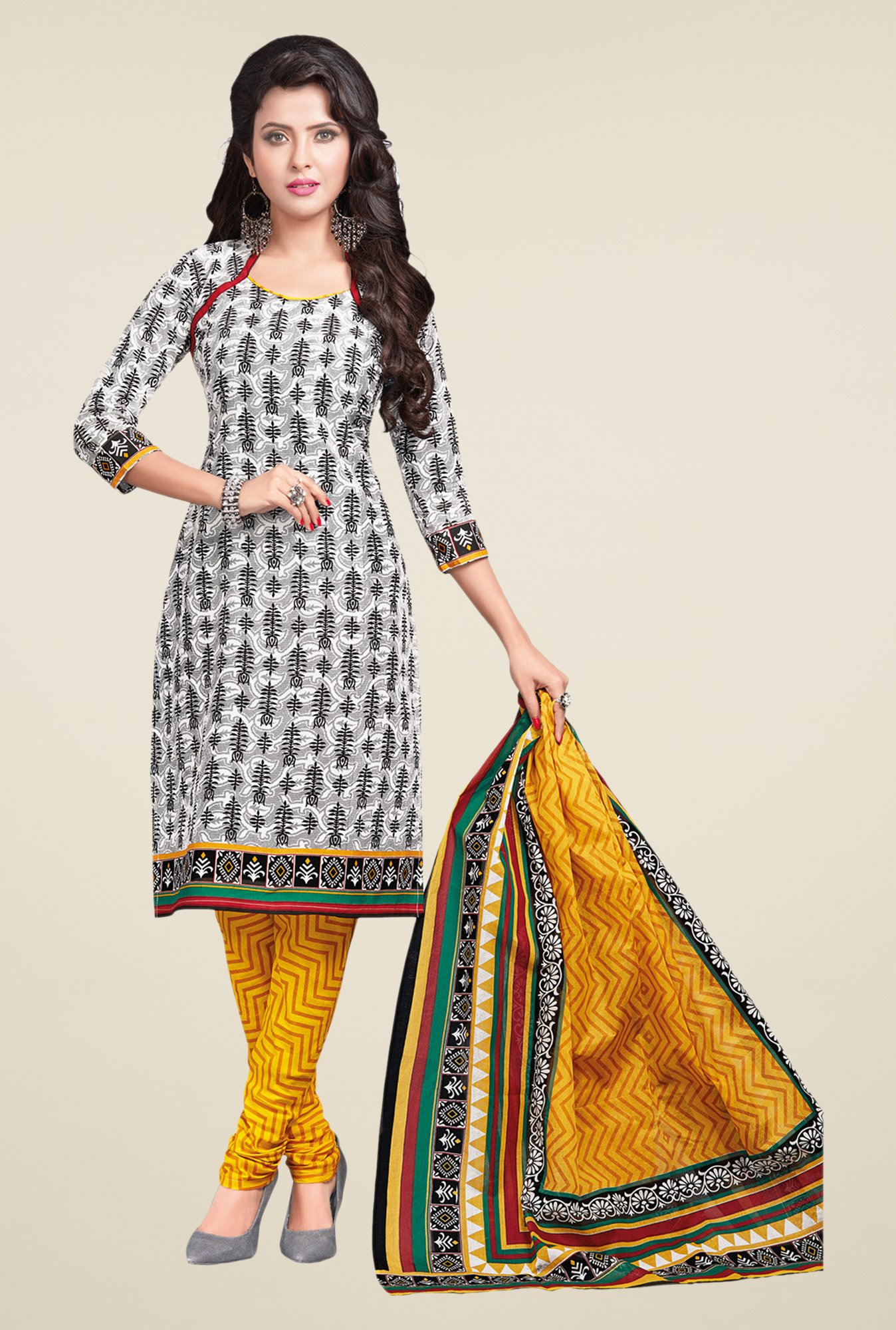 Salwar Studio Grey & Yellow Printed Dress Material