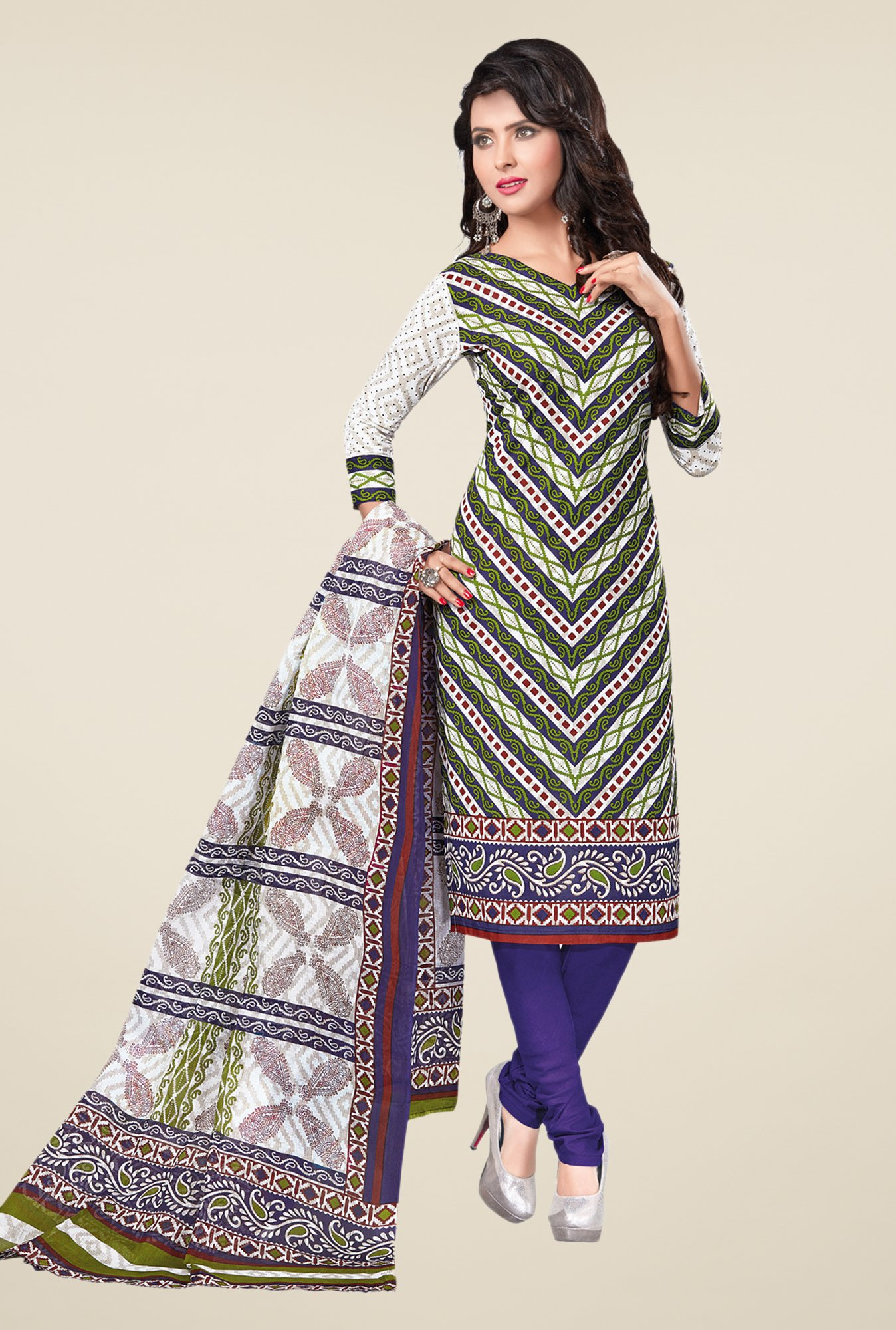 Salwar Studio Green & Blue Printed Cotton Dress Material