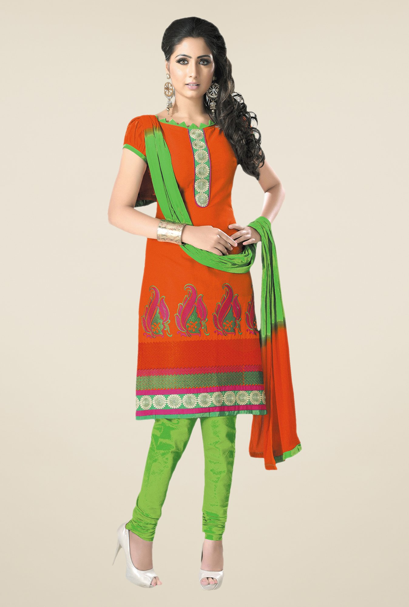 Salwar Studio Orange & Green Embroidered Dress Material