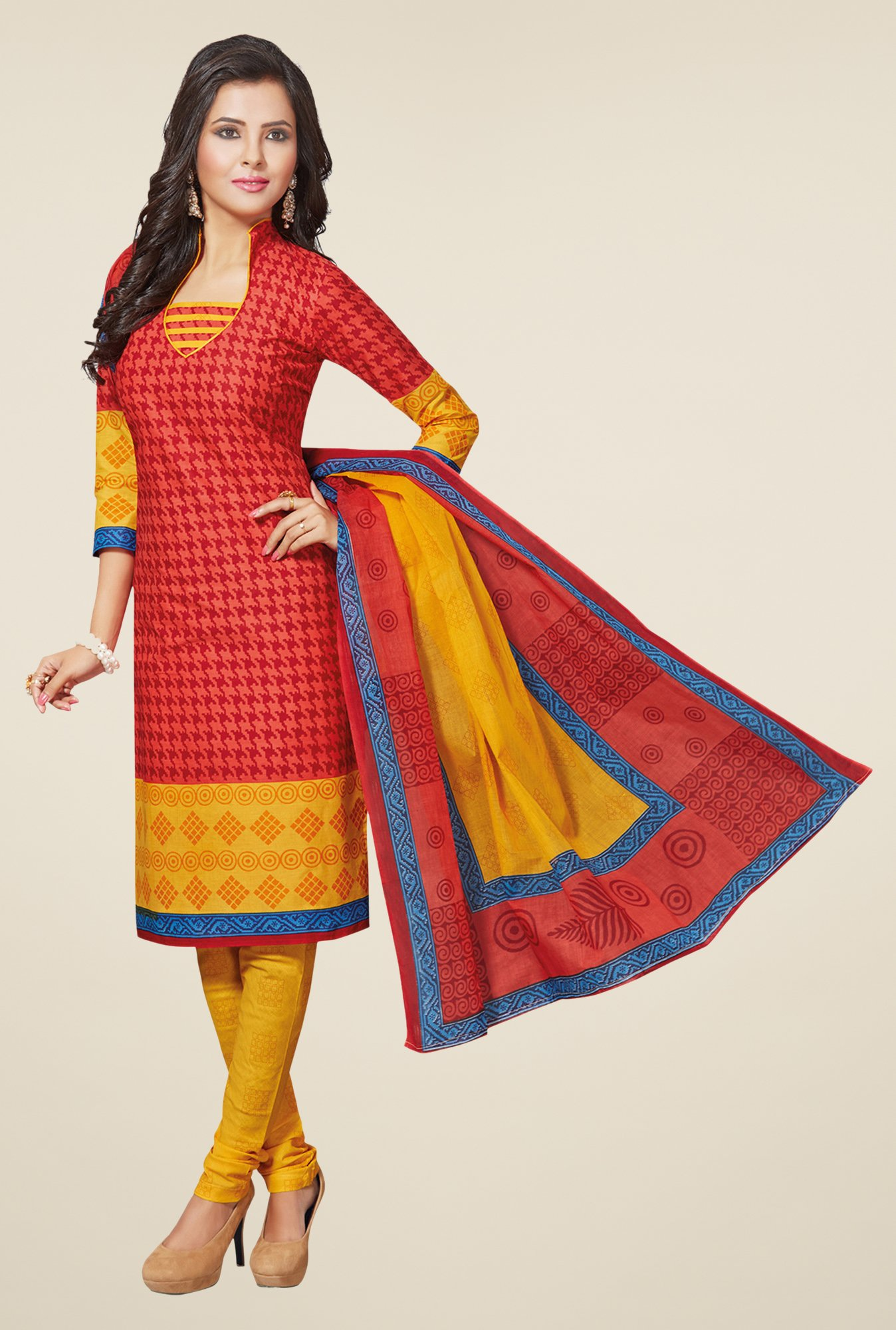 Salwar Studio Red & Yellow Printed Dress Material