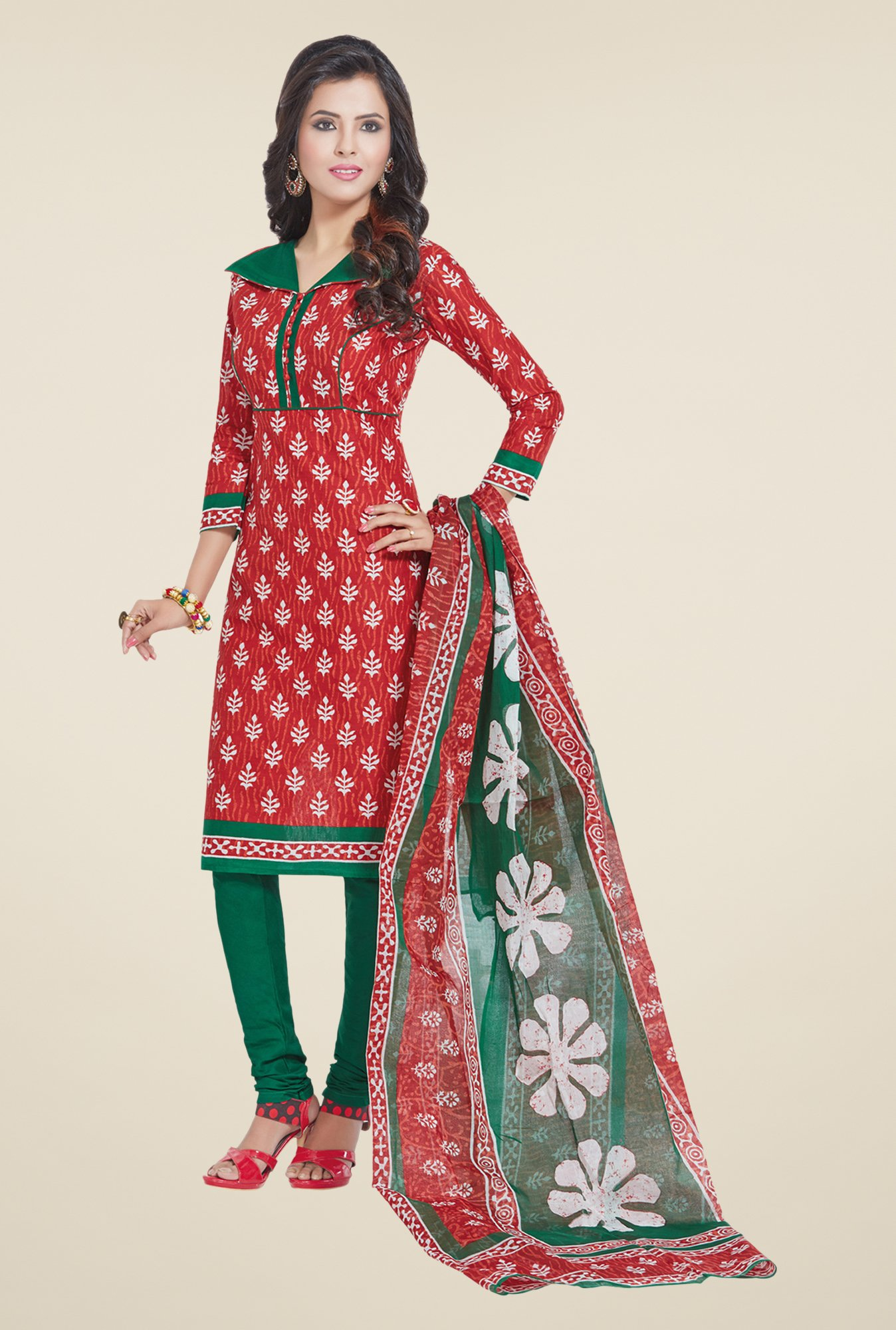 Salwar Studio Red & Green Cotton Dress Material
