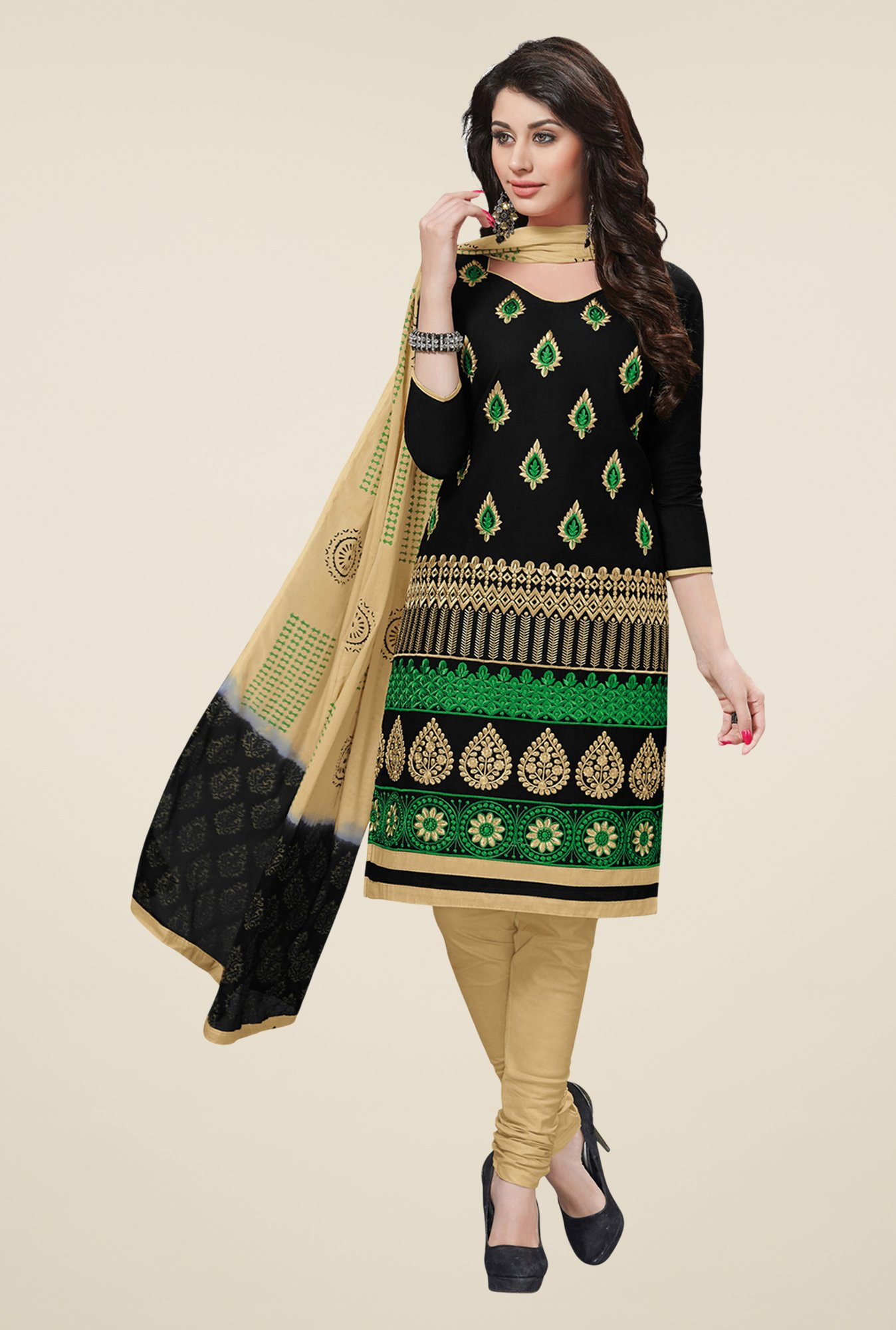 Salwar Studio Black & Beige Cotton Dress Material