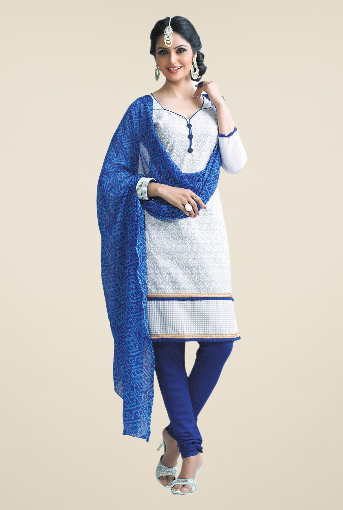 Salwar Studio White & Blue Free Size Dress Material