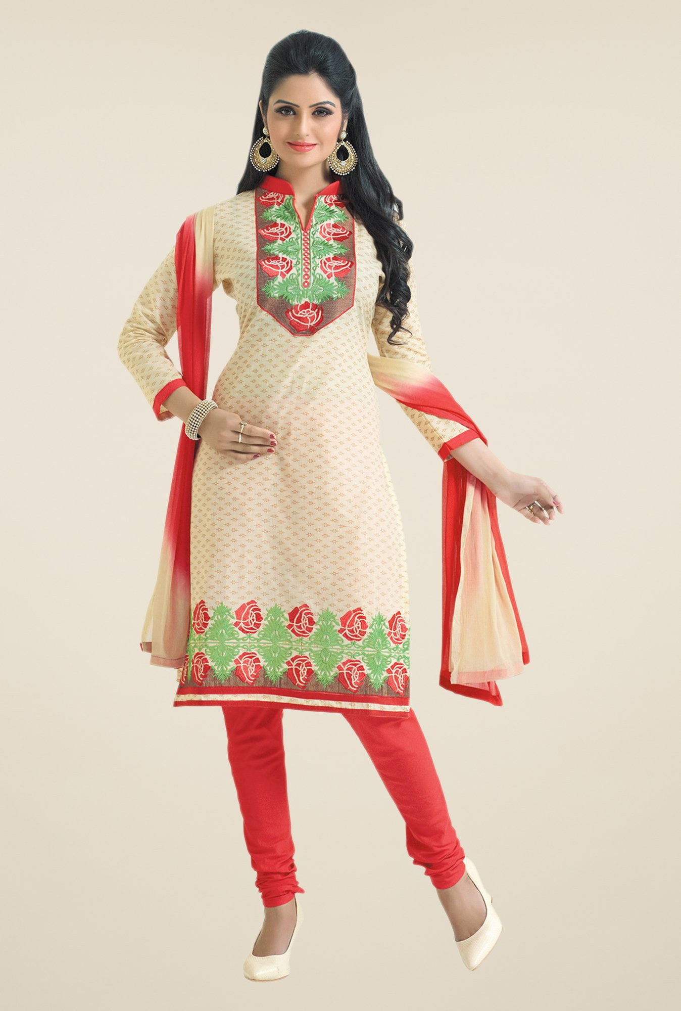 Salwar Studio Fawn & Coral Embroidered Dress Material