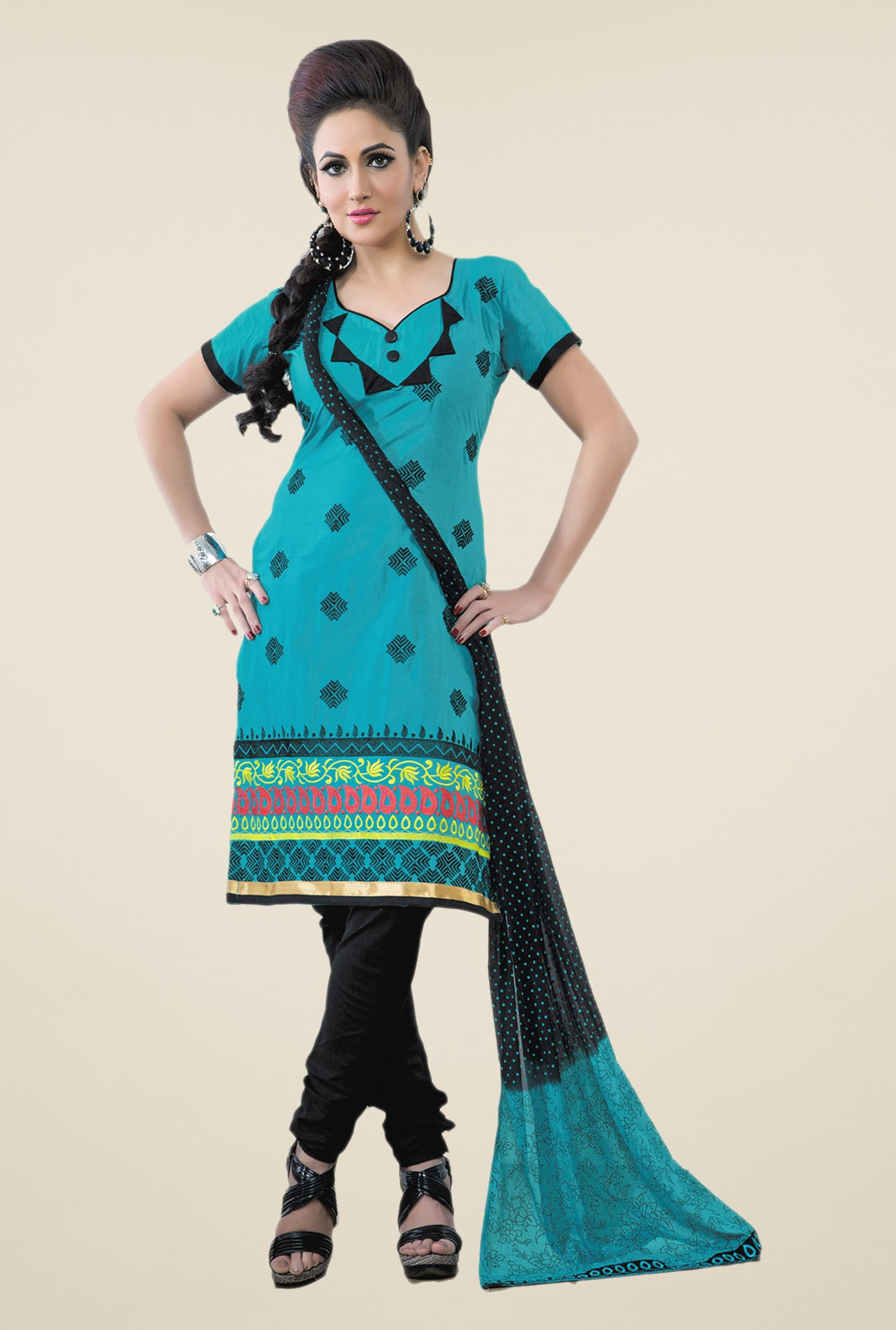 Salwar Studio Aqua & Black Embroidered Dress Material