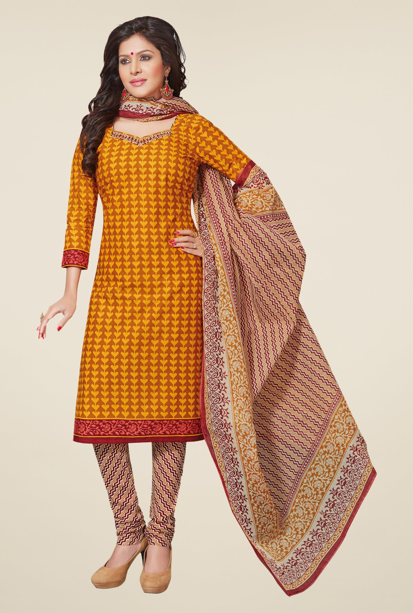 Salwar Studio Yellow & Beige Printed Dress Material