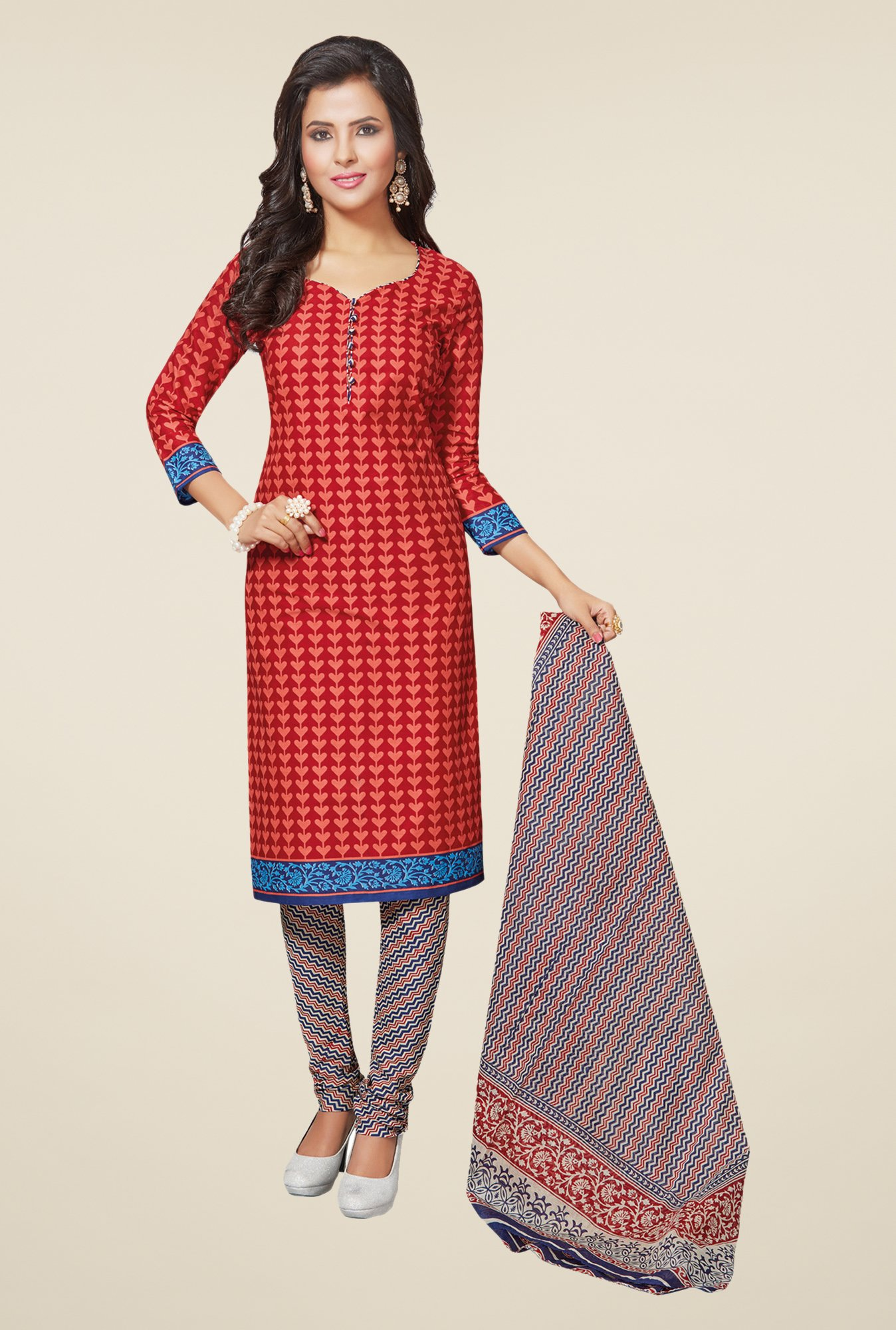 Salwar Studio Red & Blue Printed Dress Material