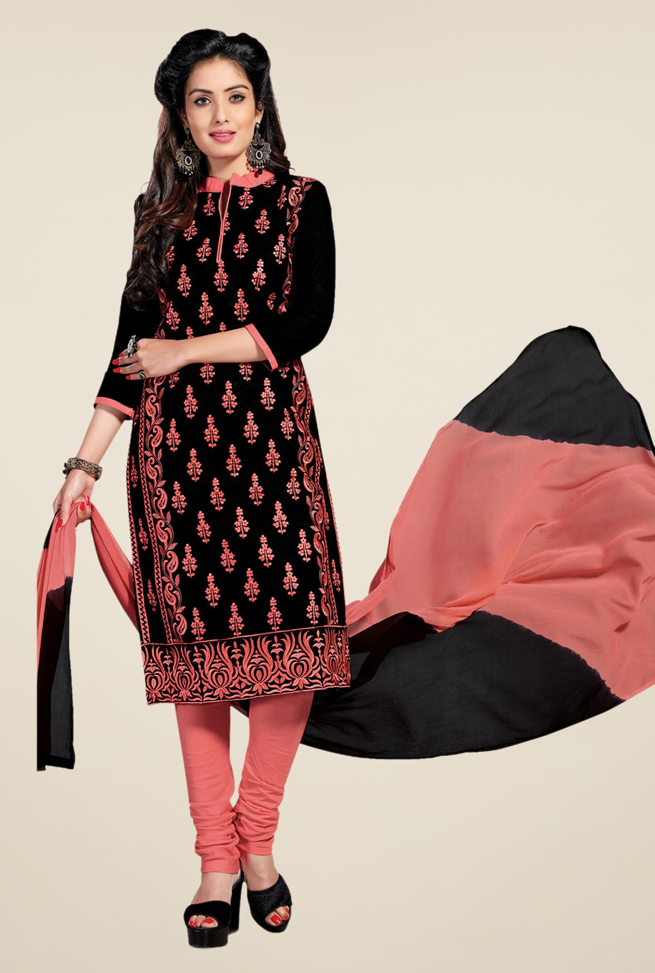 Salwar Studio Black & Peach Lawn Embroidered Dress Material