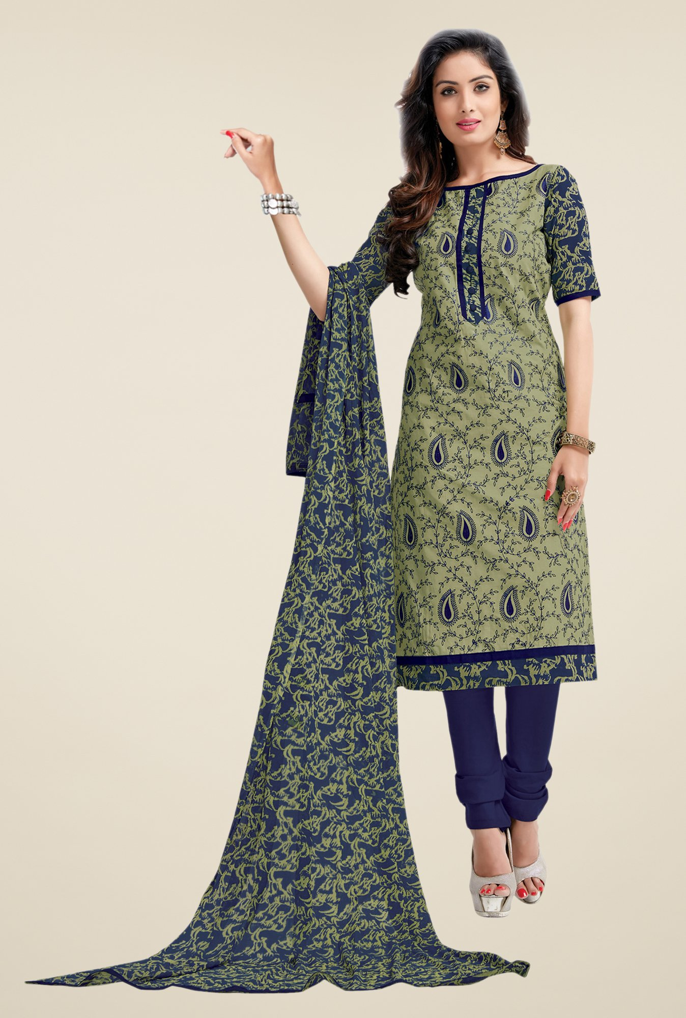 Salwar Studio Mehndi & Dark Blue Lawn Dress Material