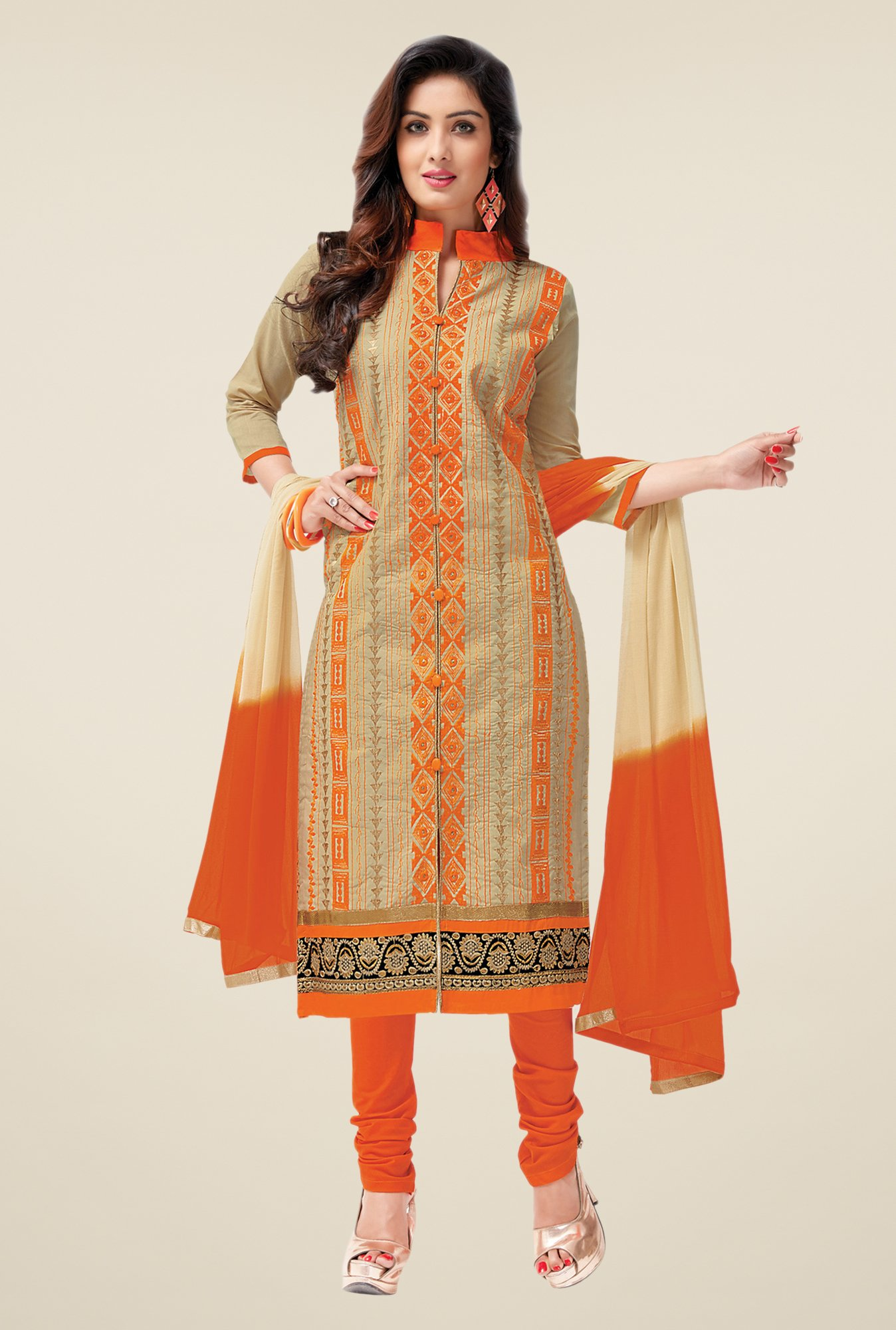 Salwar Studio Fawn & Orange Lawn Embroidered Dress Material