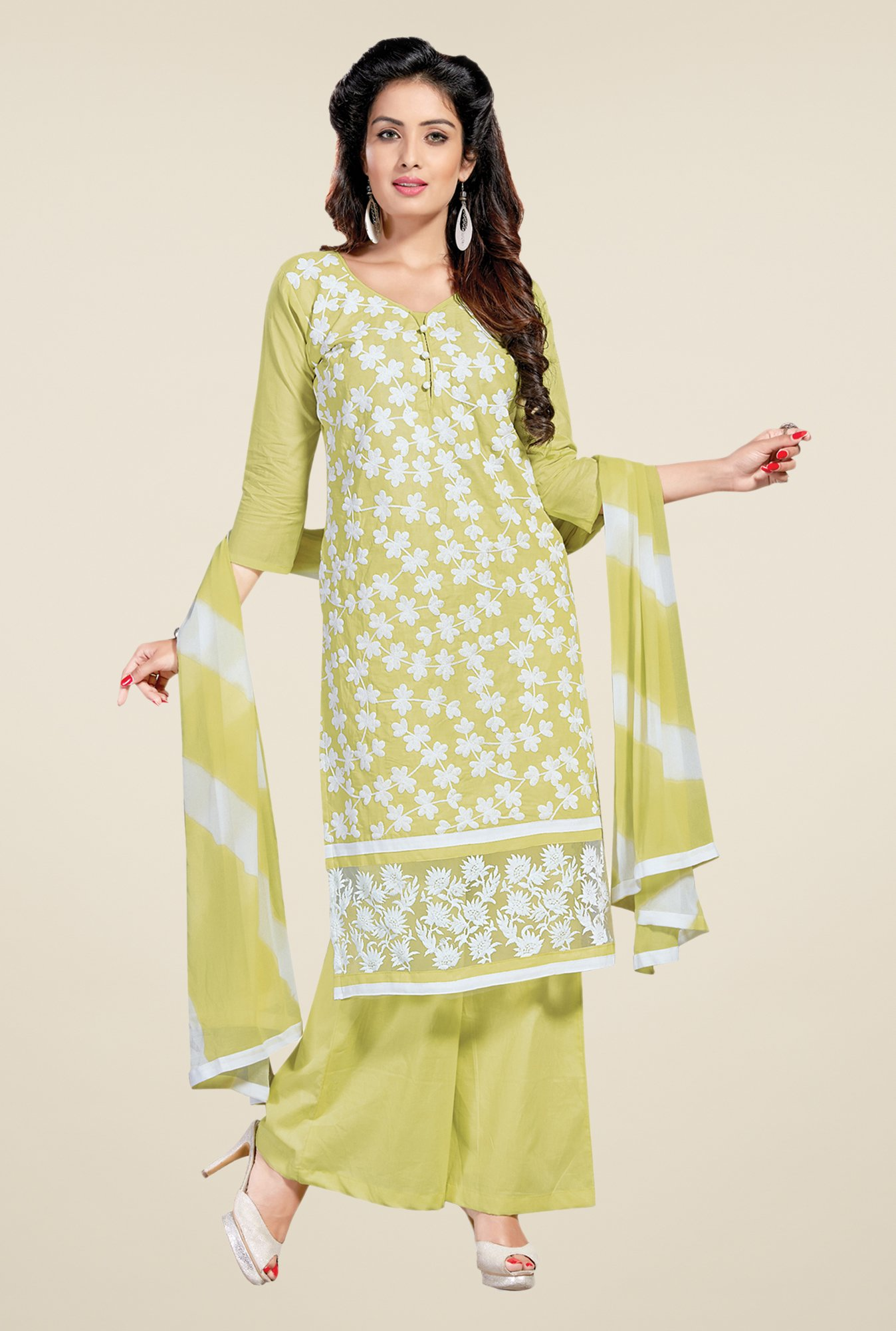 Salwar Studio Lime & White Lawn Embroidered Dress Material