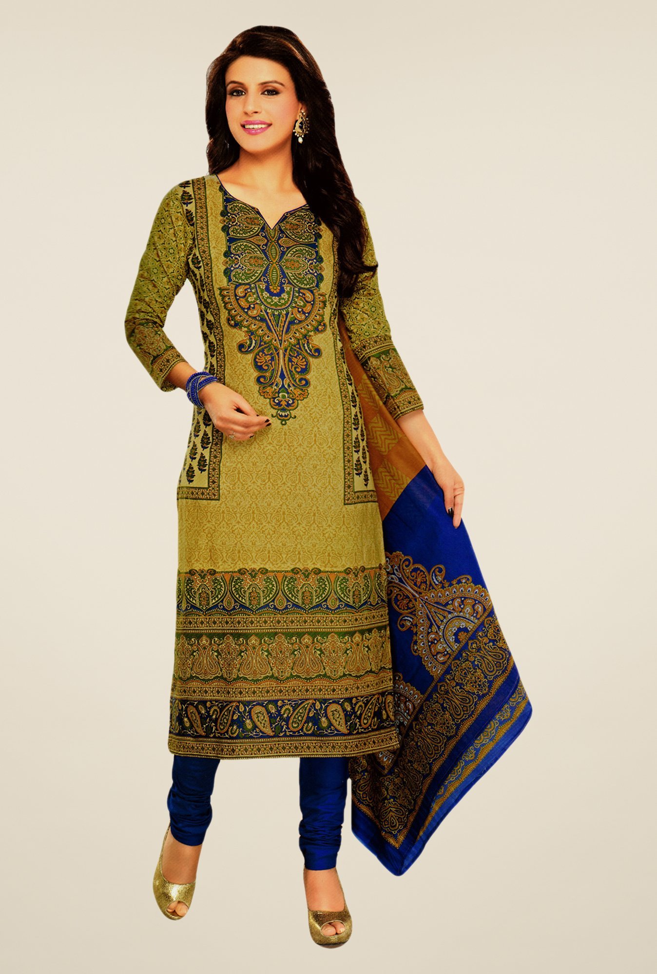 Salwar Studio Beige & Blue Lawn Satin Printed Dress Material