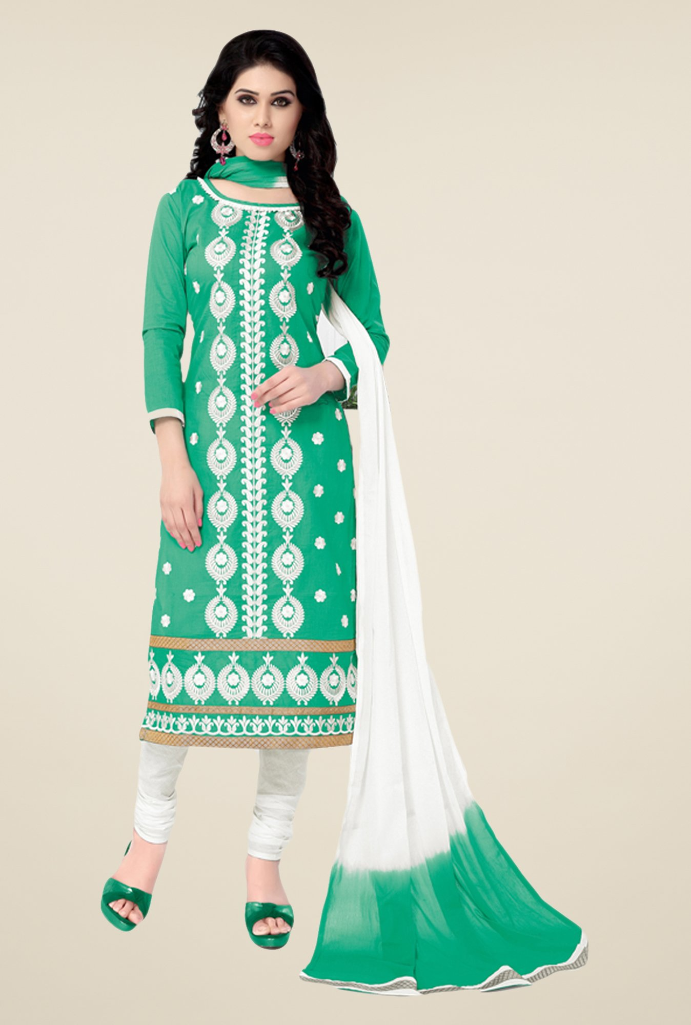 Salwar Studio Sea Green & White Cotton Dress Material