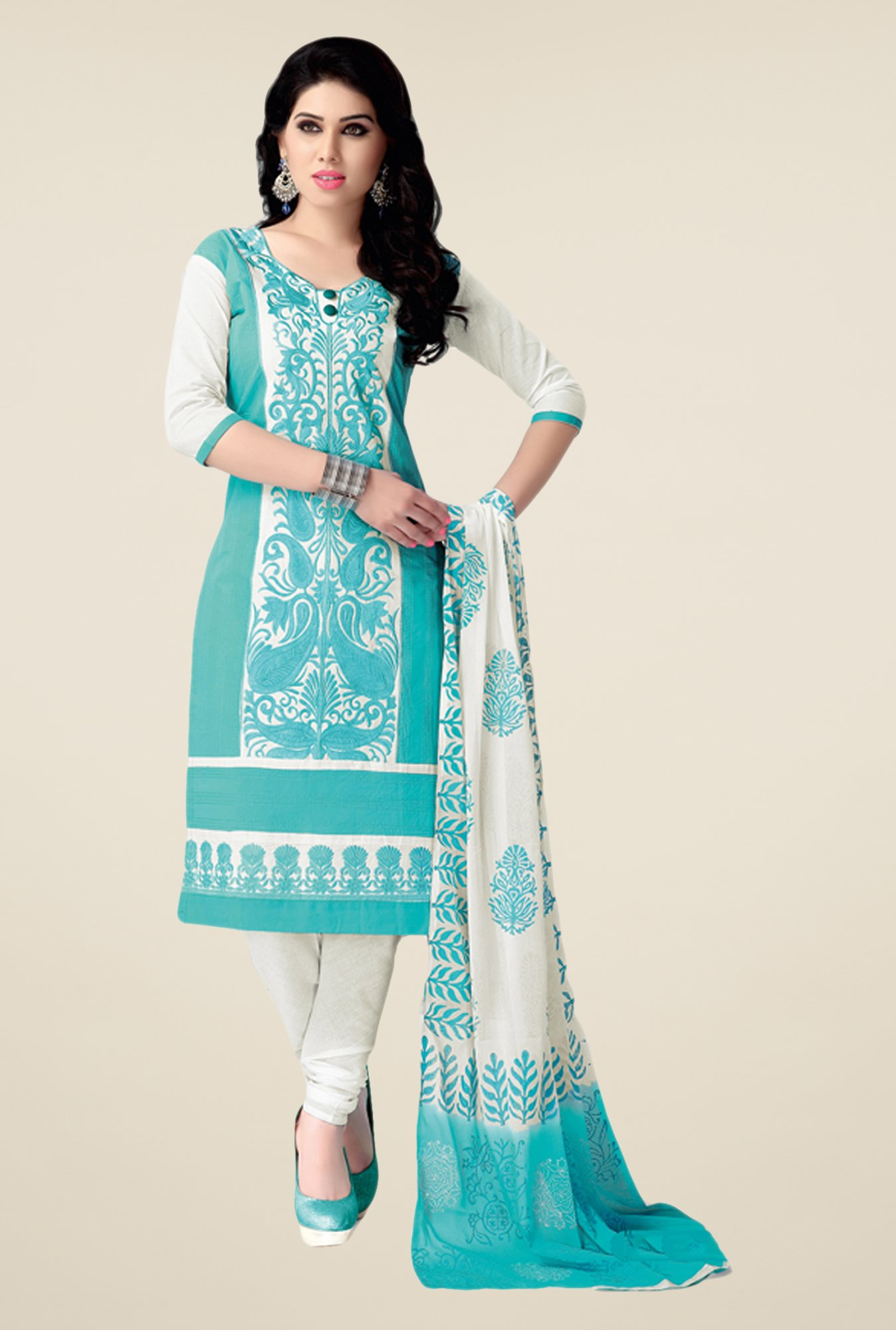 Salwar Studio Aqua & White Embroidered Dress Material