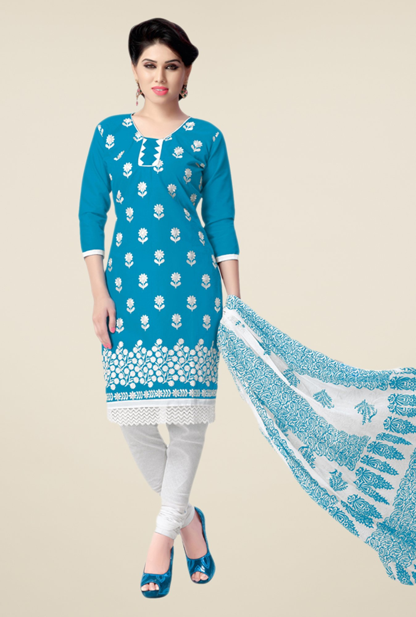 Salwar Studio Blue & White Embroidered Dress Material