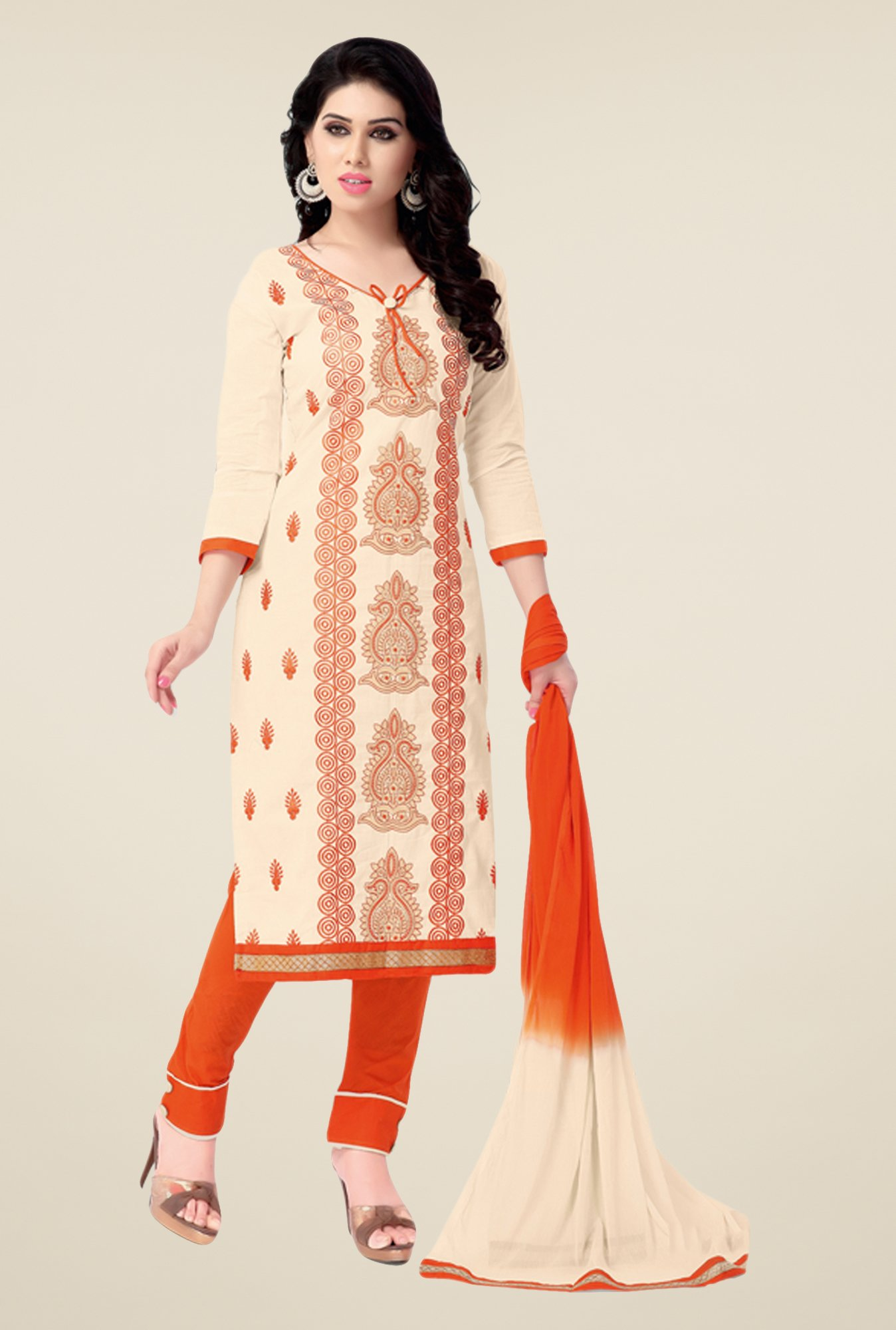 Salwar Studio Cream & Orange Embroidered Dress Material