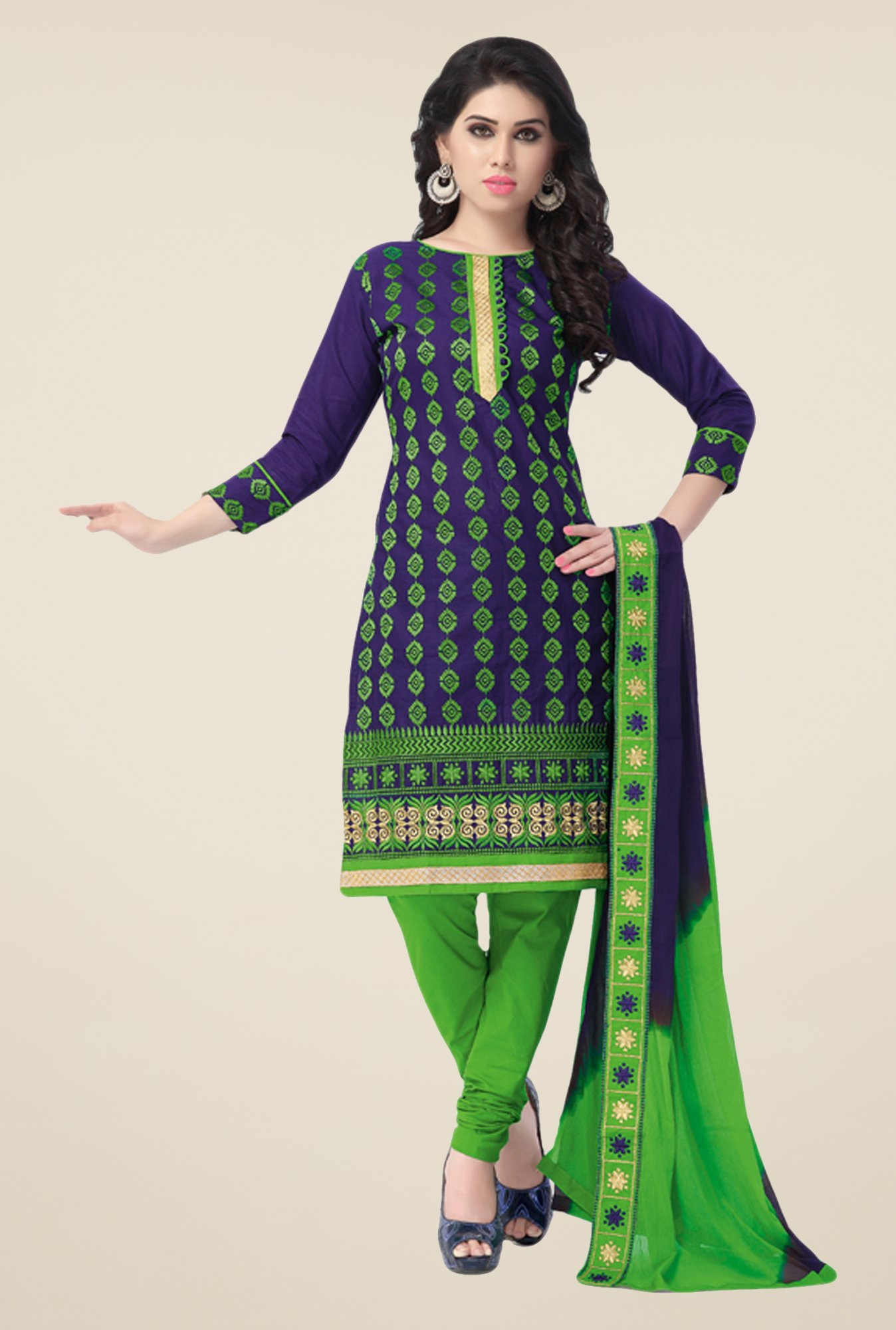Salwar Studio Blue & Green Embroidered Cotton Dress Material