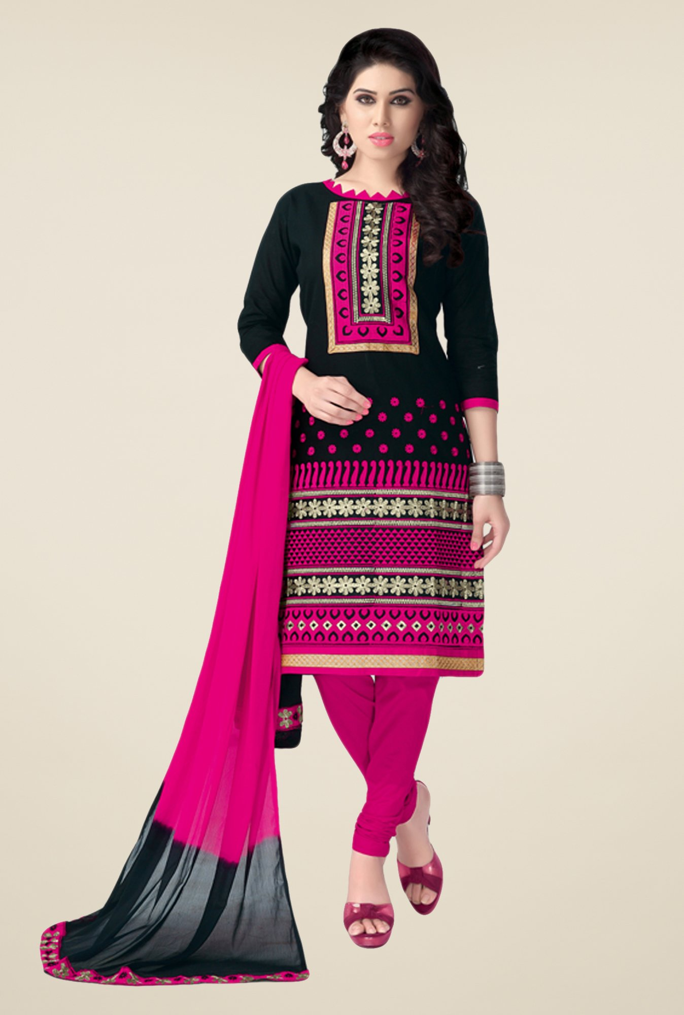 Salwar Studio Black & Pink Free Size Dress Material