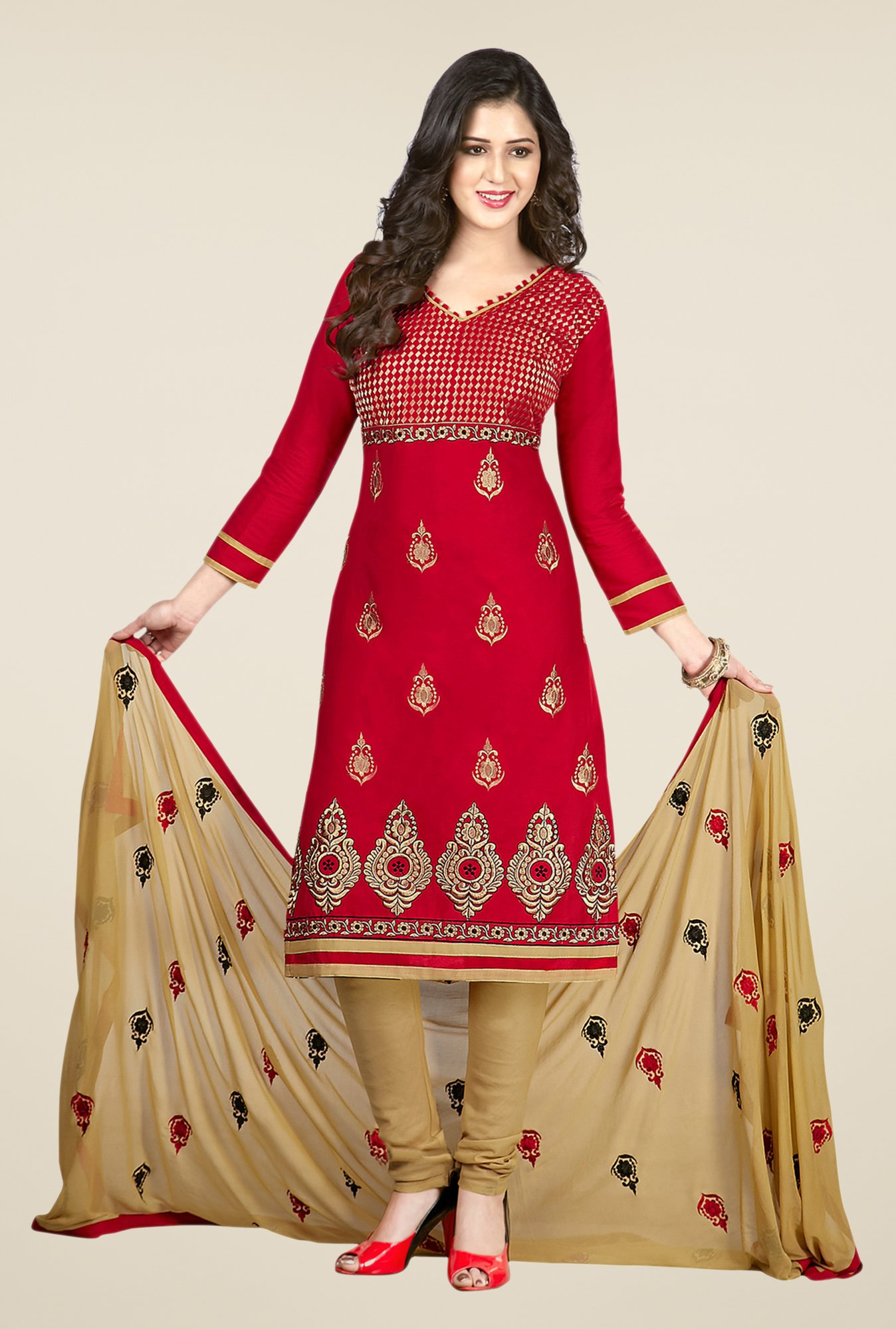 Salwar Studio Red & Beige Embroidered Dress Material
