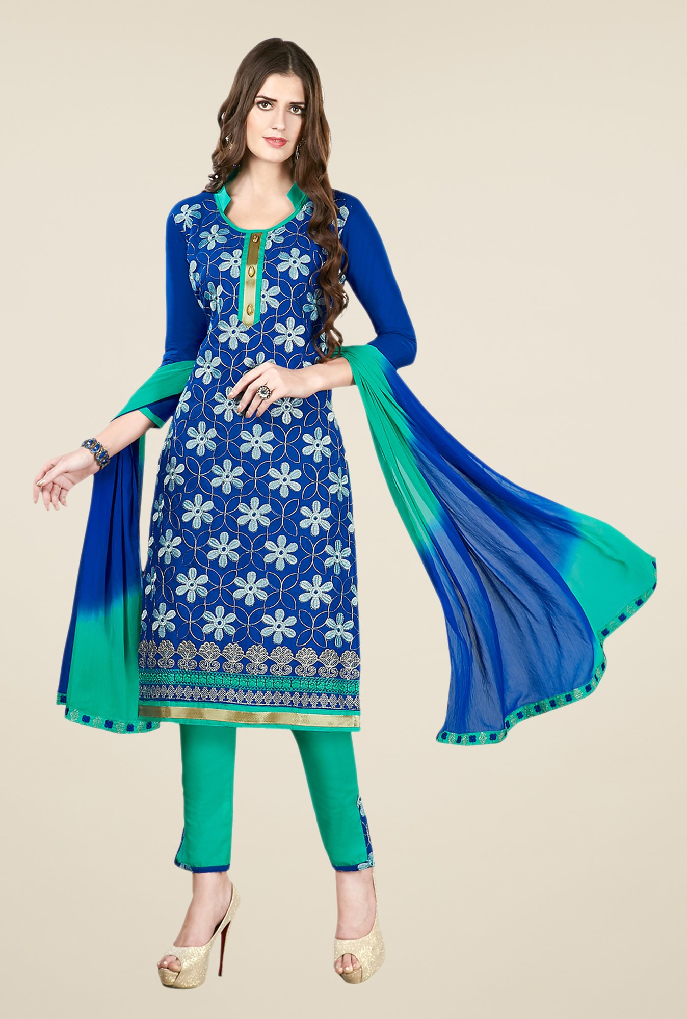 Salwar Studio Blue & Green Embroidered Dress Material