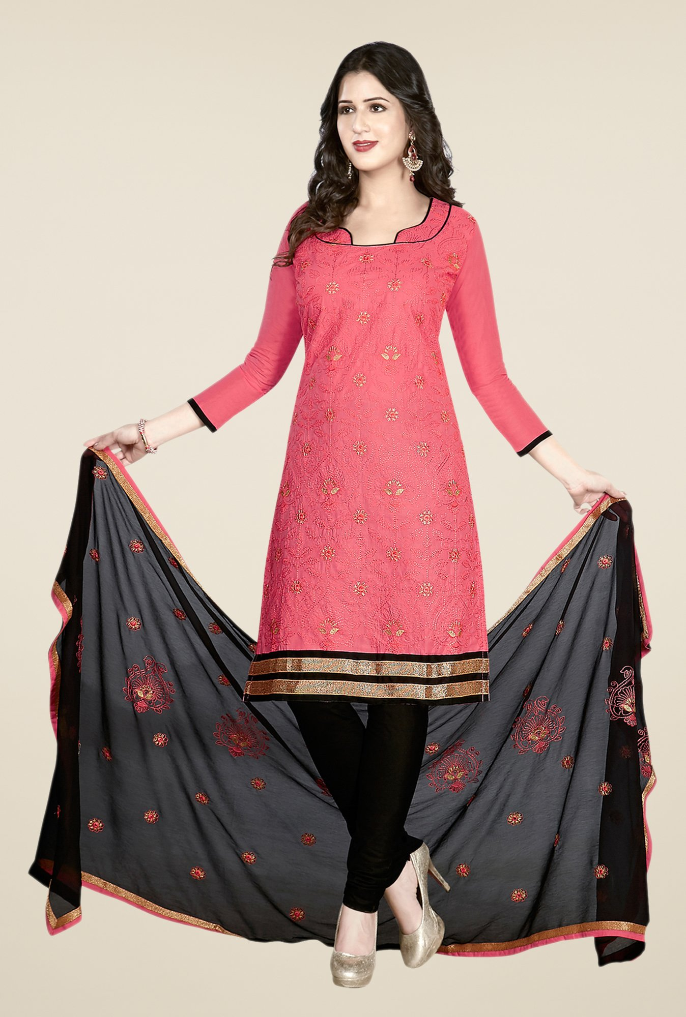 Salwar Studio Pink & Black Embroidered Dress Material