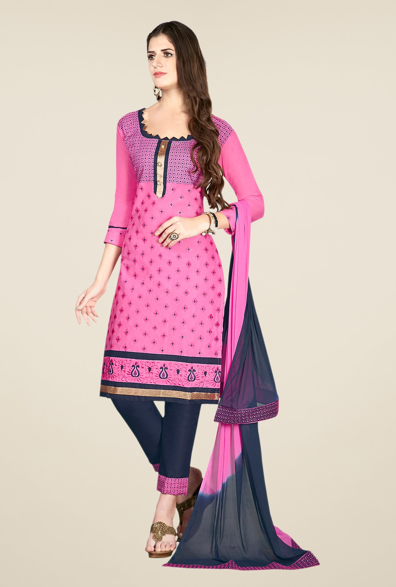 Salwar Studio Pink & Grey Embroidered Dress Material