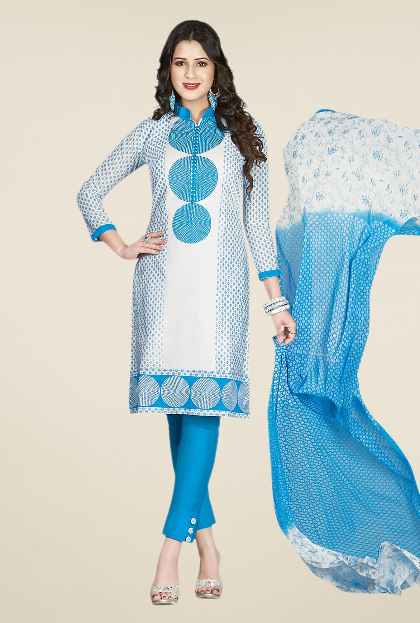 Salwar Studio Blue & White Embroidered Cotton Dress Material