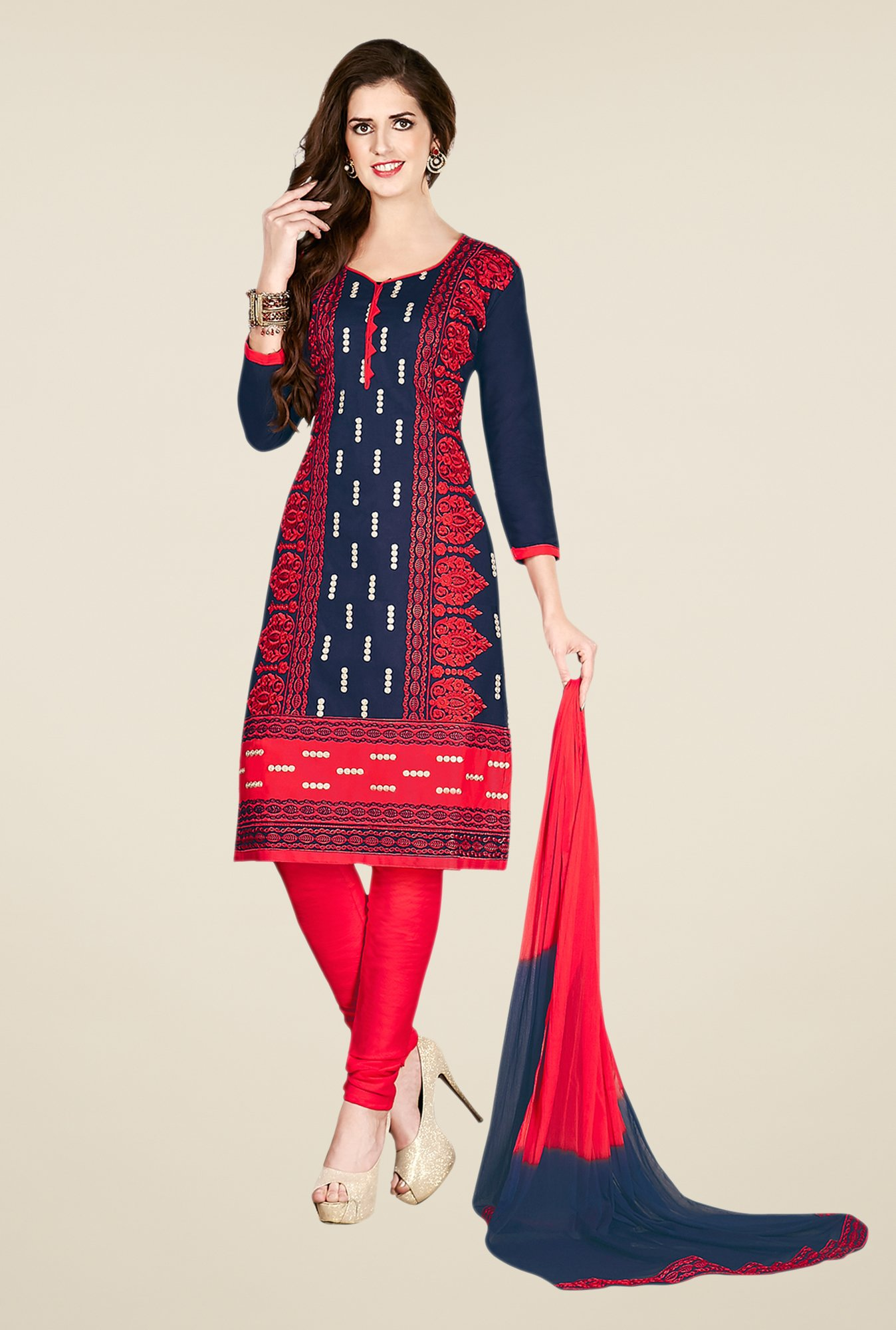 Salwar Studio Blue & Red Embroidered Dress Material