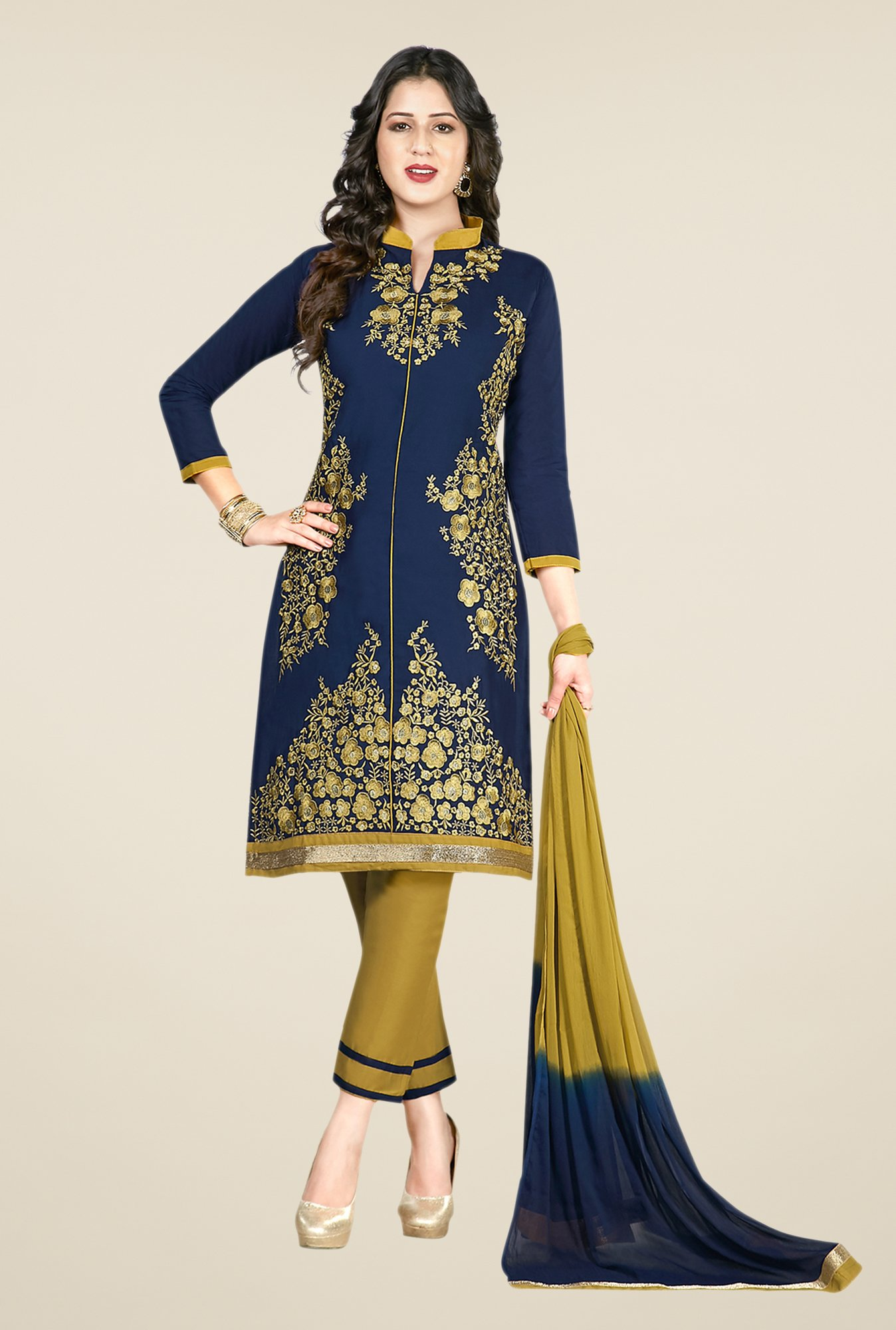 Salwar Studio Navy & Olive Embroidered Dress Material
