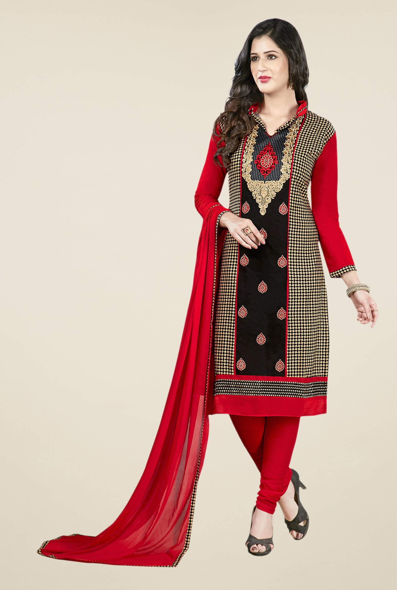 Salwar Studio Black & Red Embroidered Dress Material