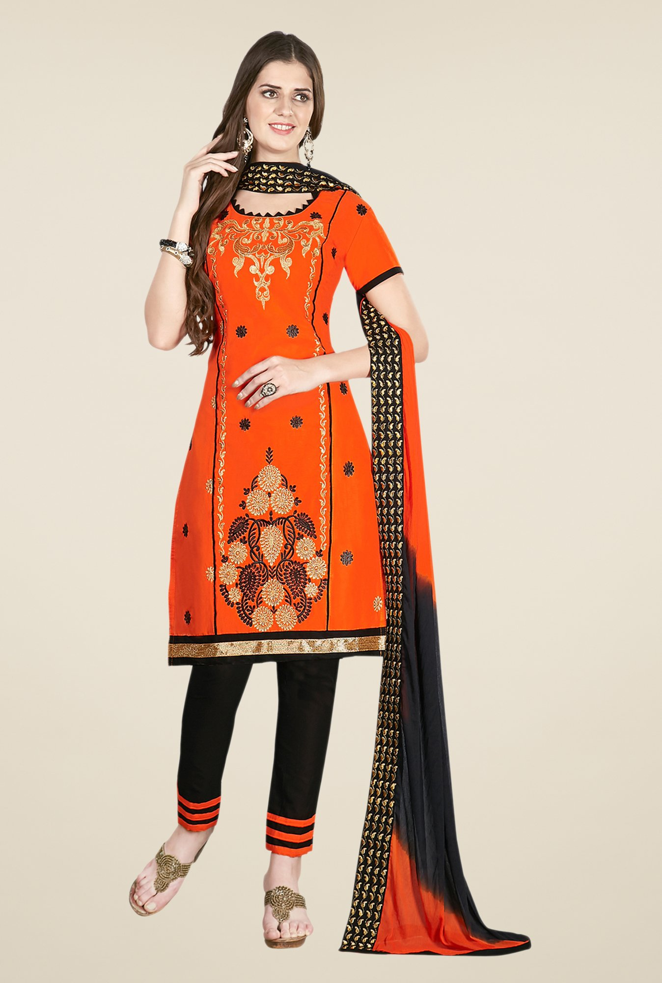 Salwar Studio Orange & Black Embroidered Dress Material
