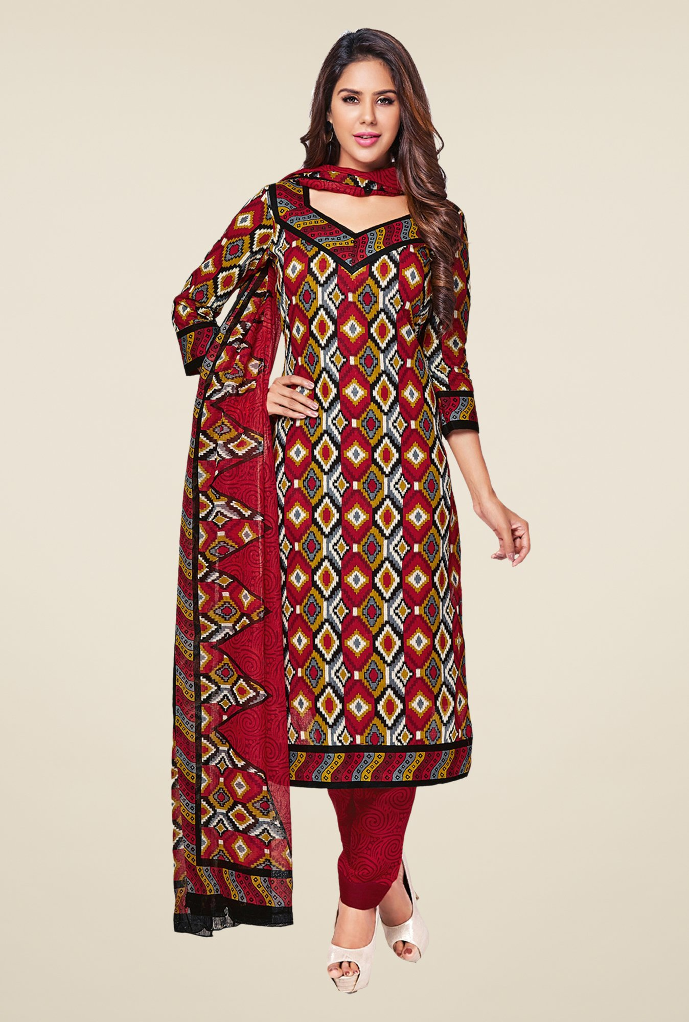 Salwar Studio Maroon & Yellow Printed Cotton Dress Material