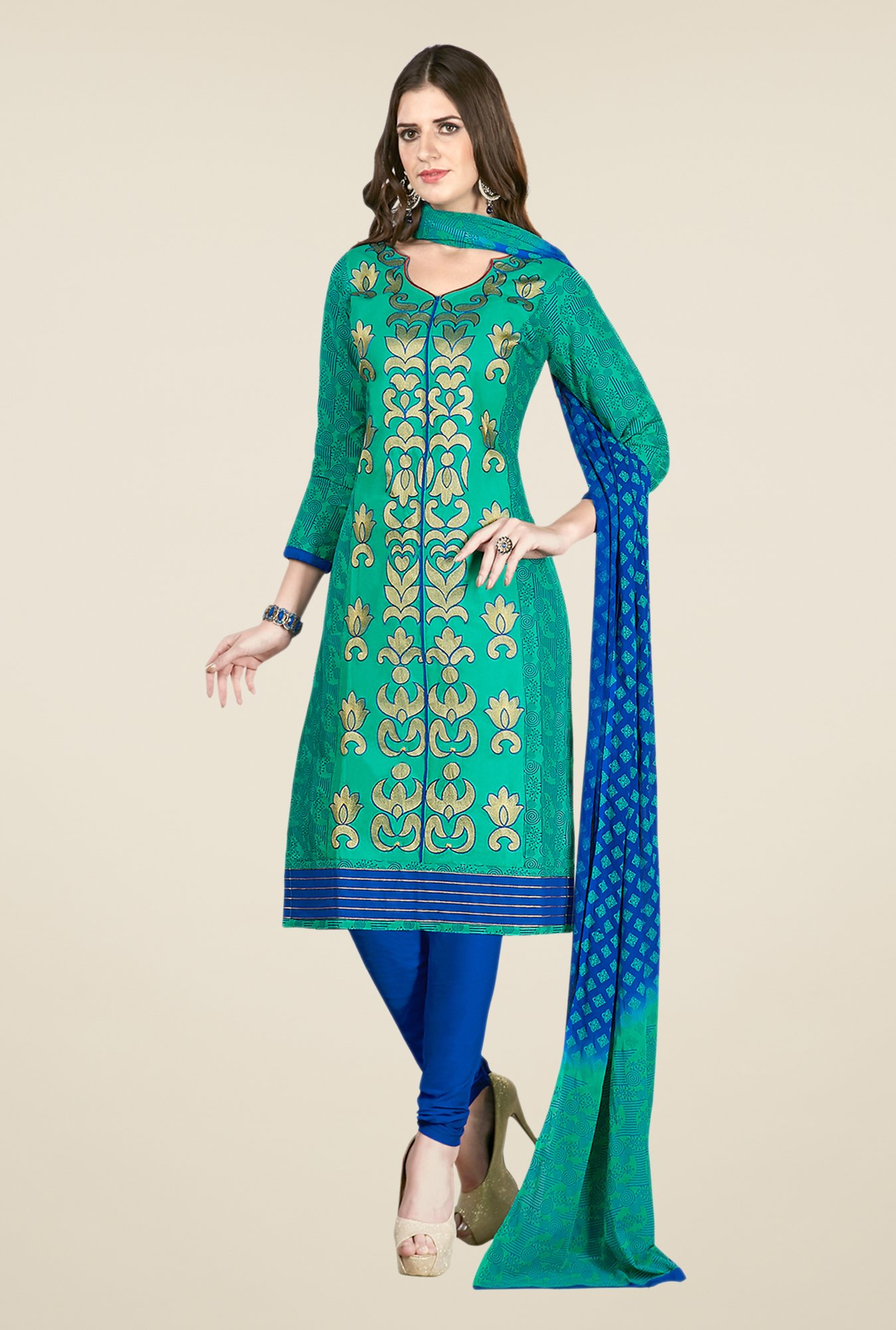 Salwar Studio Sea Green & Blue Embroidered Dress Material