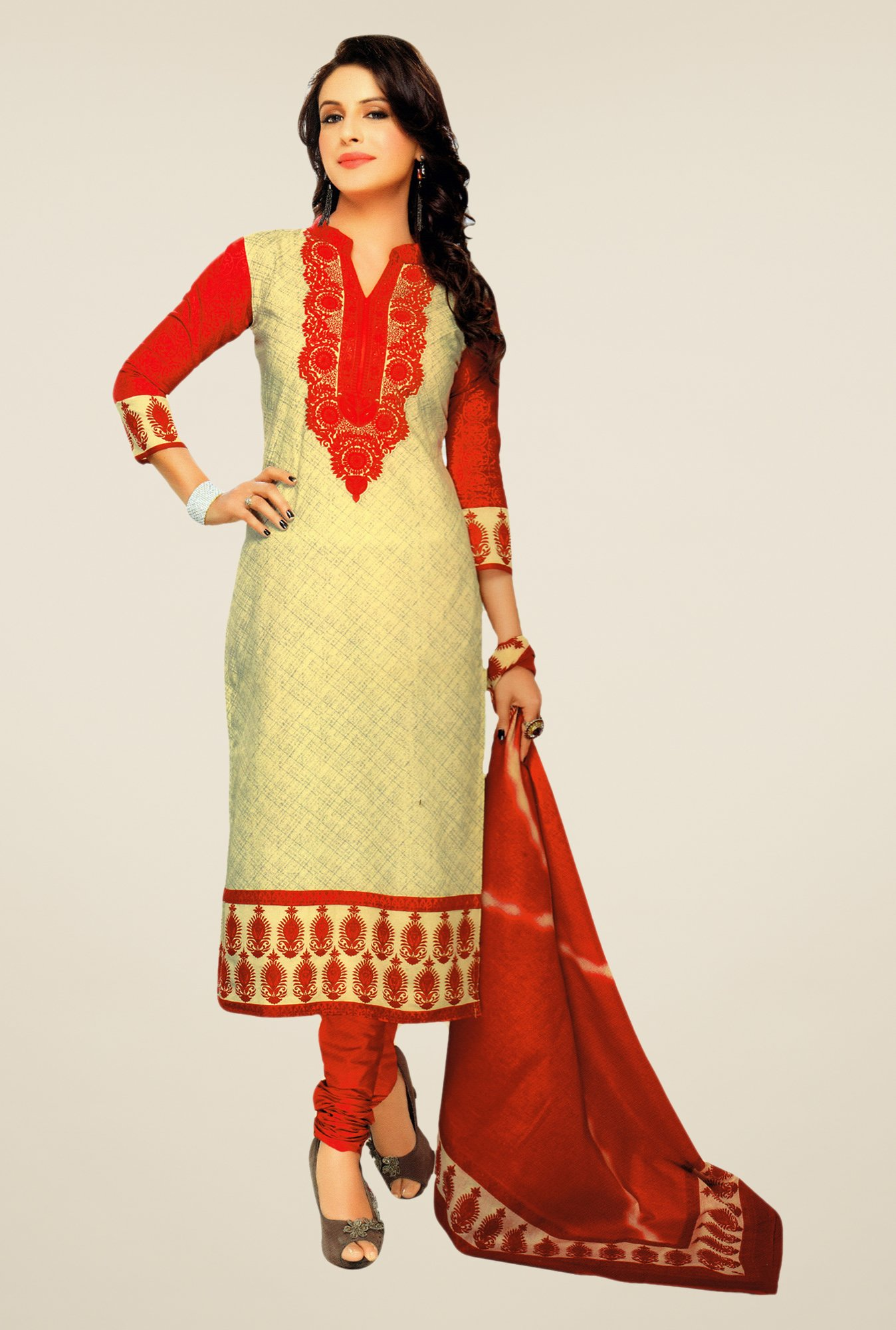 Salwar Studio Beige & Red Lawn Satin Printed Dress Material