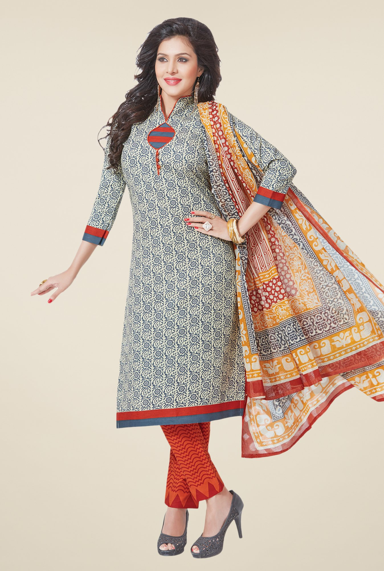 Salwar Studio Ash Grey & Orange Printed Dress Material