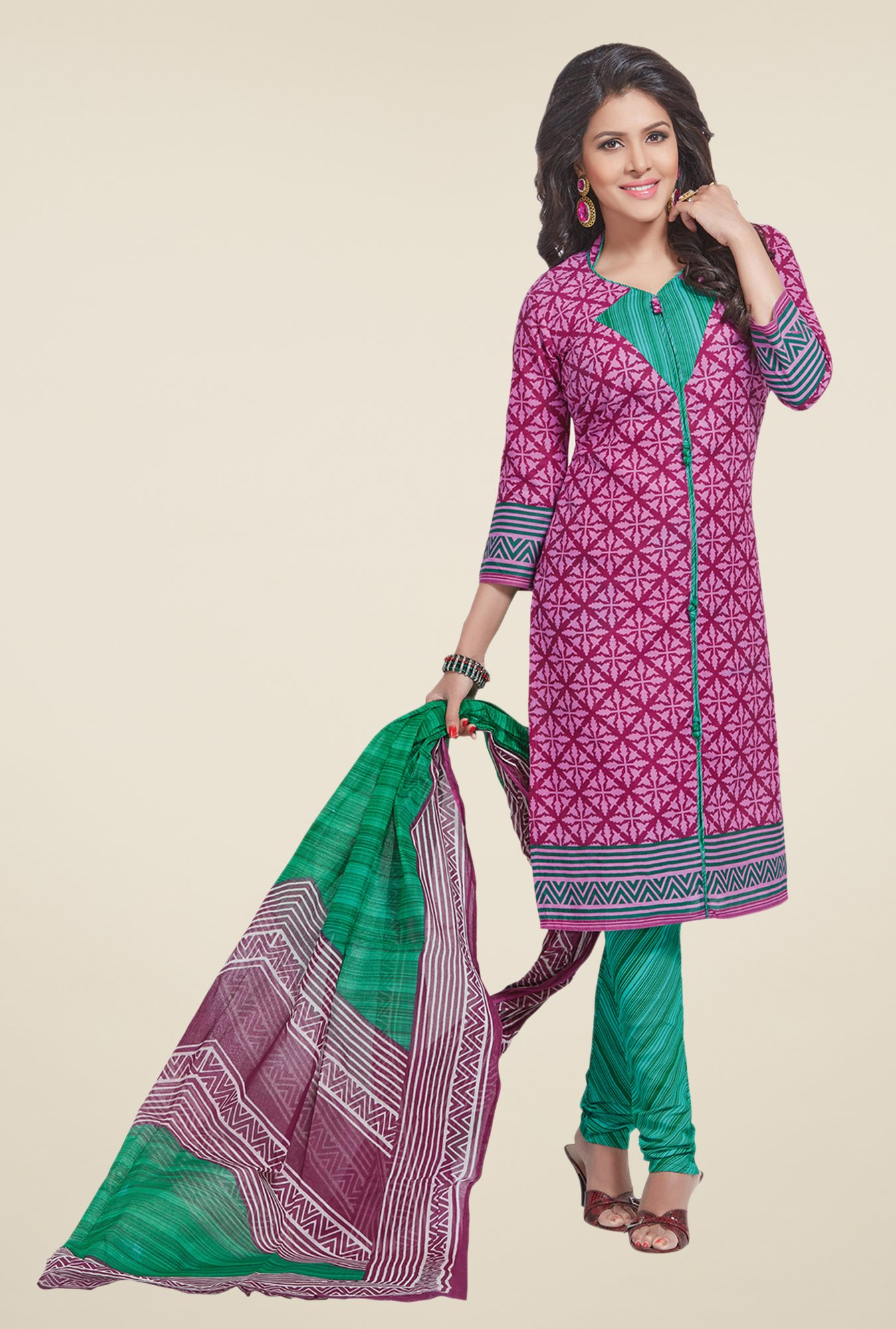 Salwar Studio Pink & Sea Green Printed Cotton Dress Material