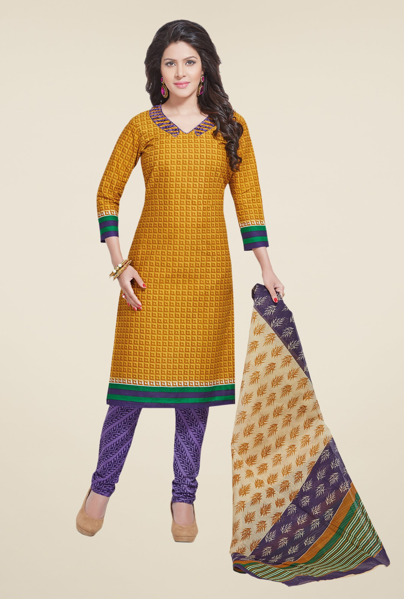 Salwar Studio Mustard & Violet Printed Dress Material