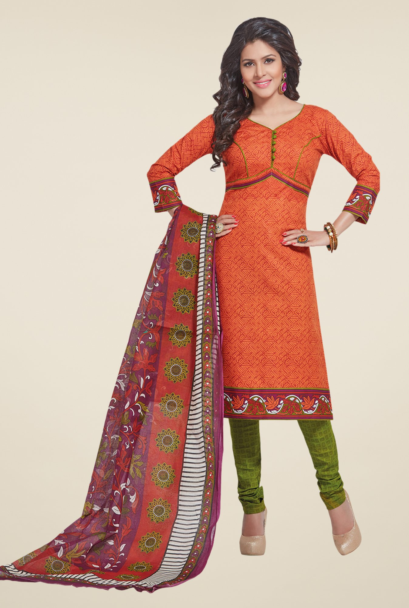 Salwar Studio Tomato Red & Mehndi Printed Dress Material