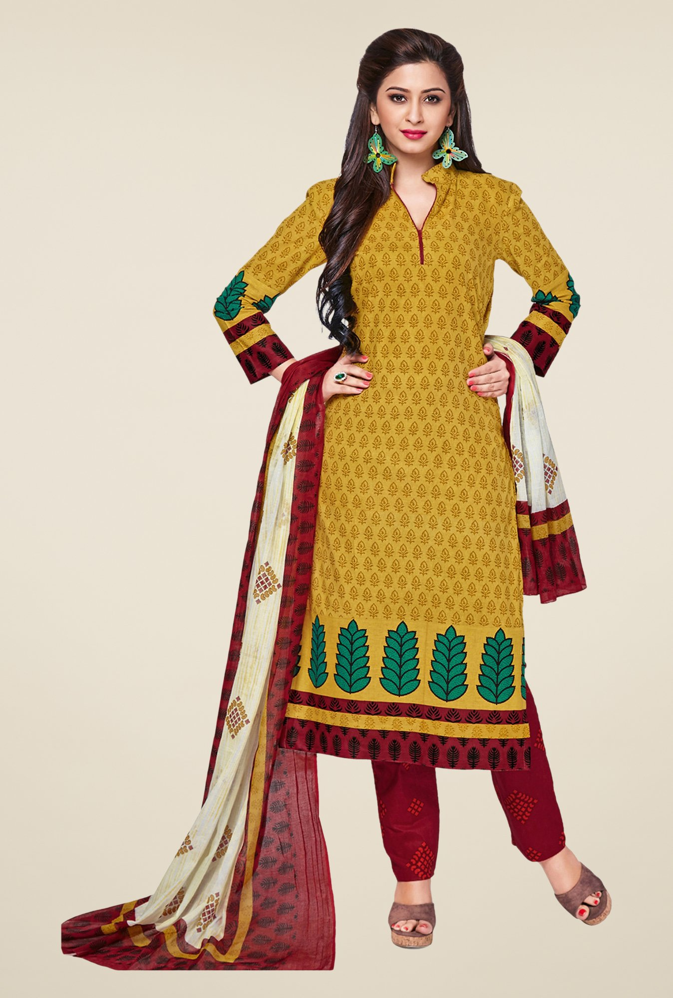 Salwar Studio Mustard & Maroon Printed Dress Material