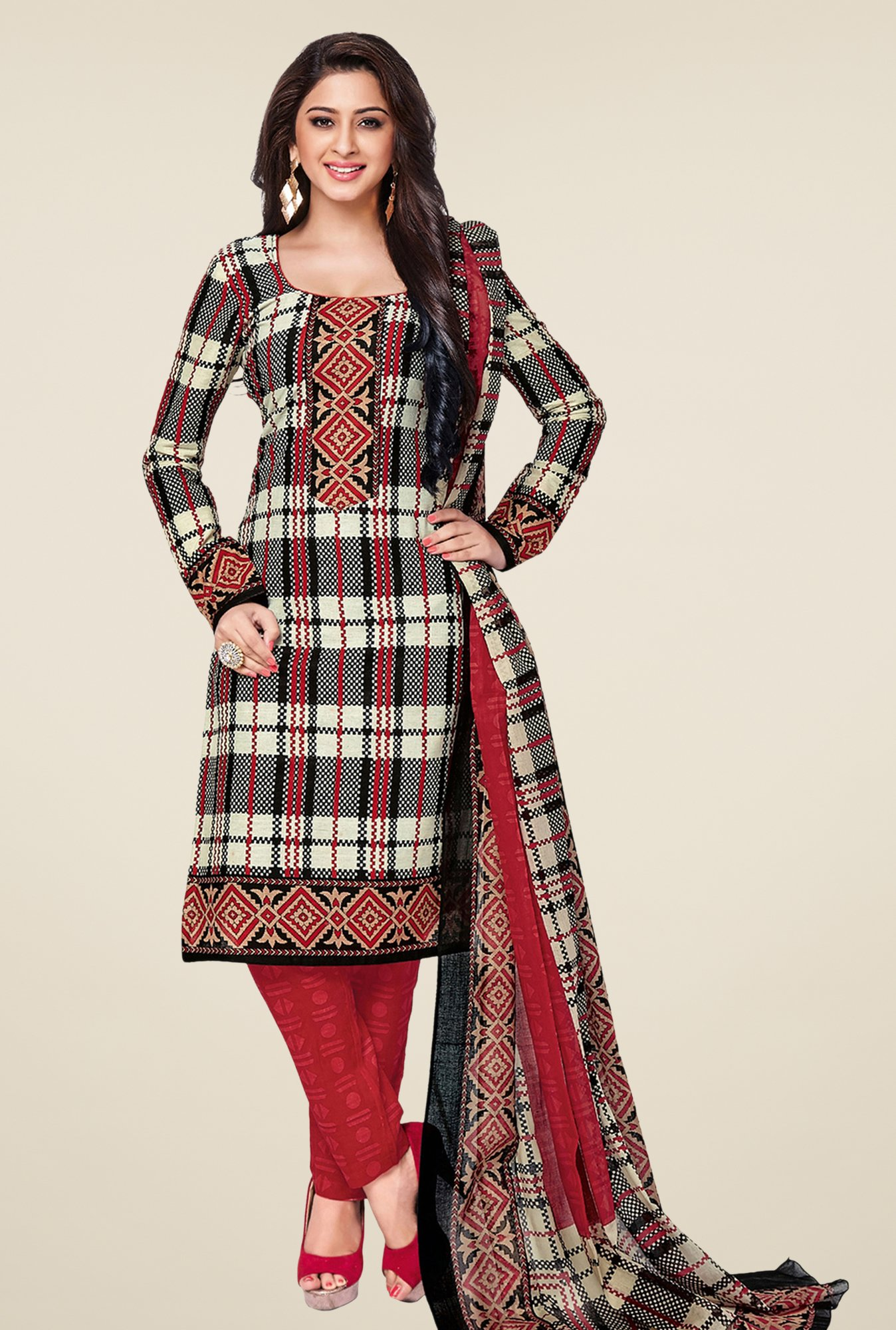 Salwar Studio Red & Black Checks Dress Material