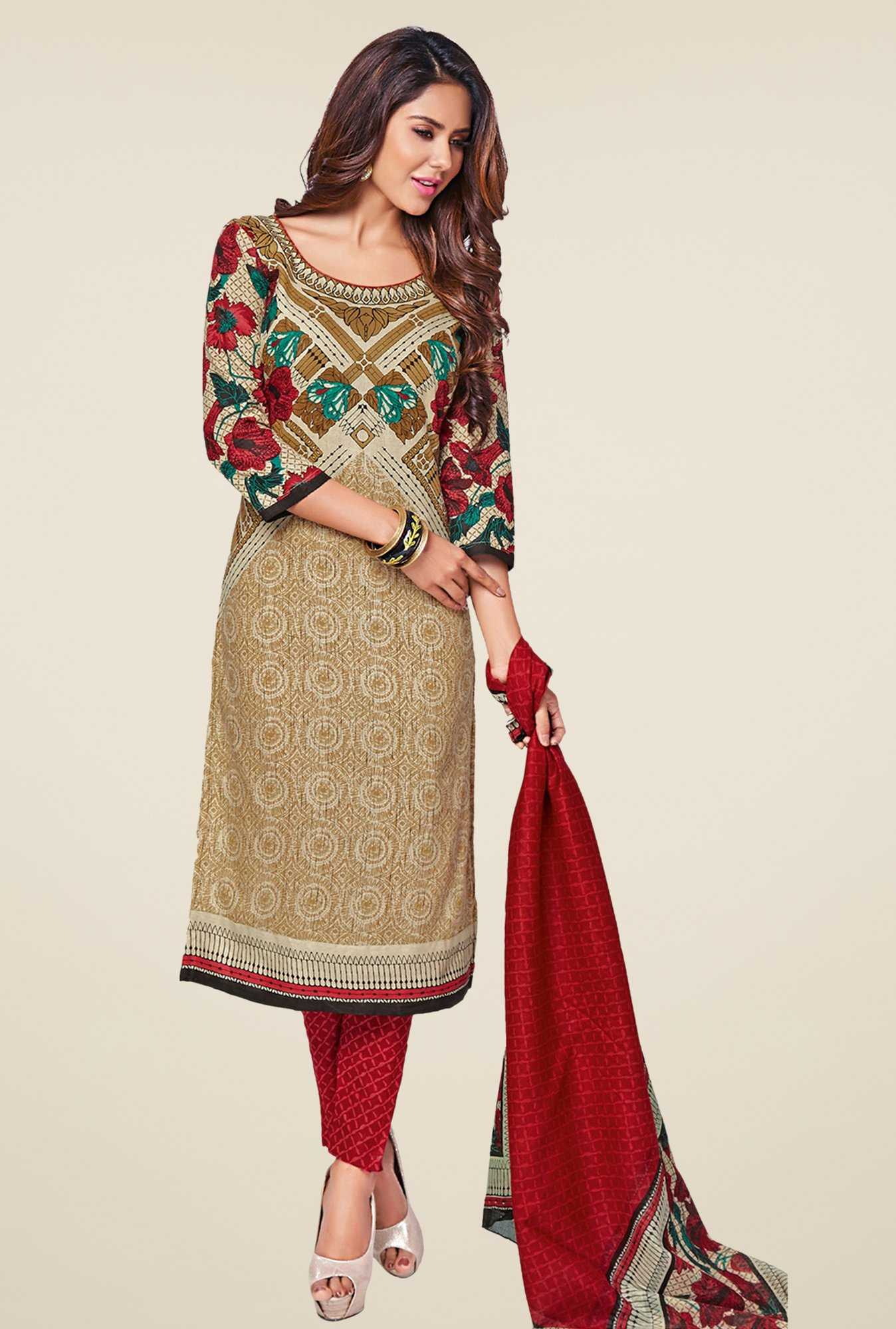 Salwar Studio Beige & Maroon Printed Cotton Dress Material