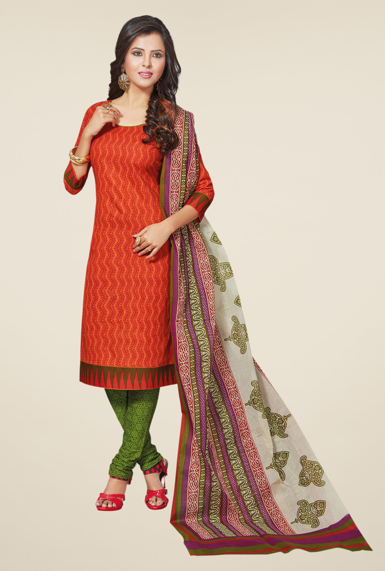 Salwar Studio Orange & Mehndi Printed Cotton Dress Material