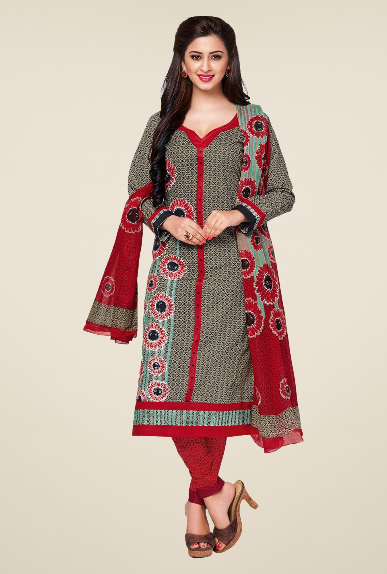 Salwar Studio Grey & Red Printed Cotton Dress Material