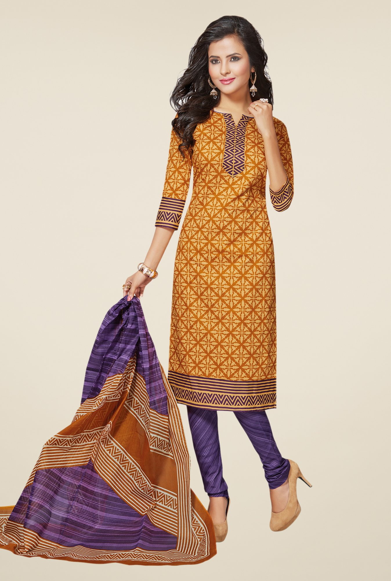 Salwar Studio Mustard & Purple Printed Cotton Dress Material